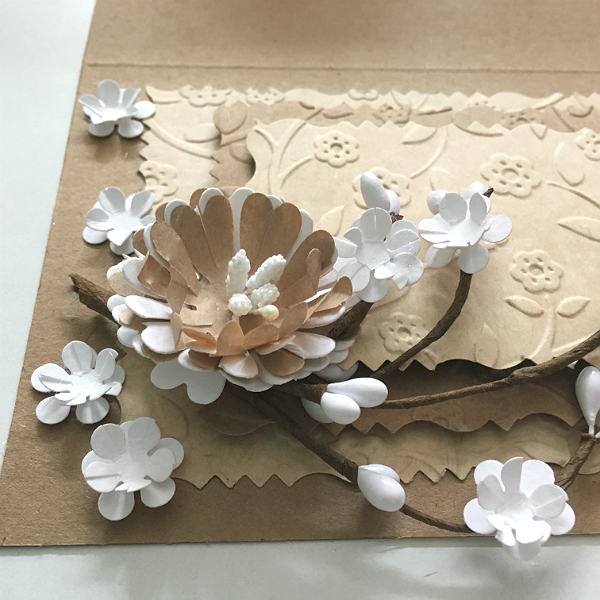 Paper spring – floral greeting card from recycled paper