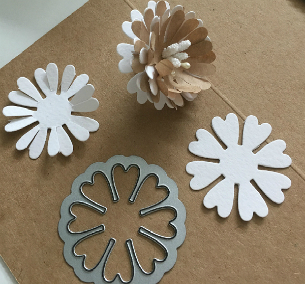 Paper spring floral greeting card from recycled paper