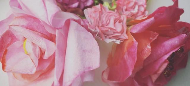Romantic paper roses wrist corsage