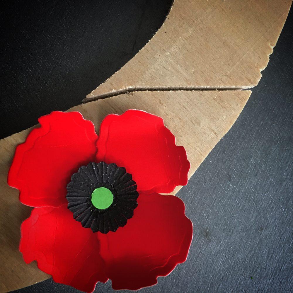 ANZAC paper poppy flower wreath