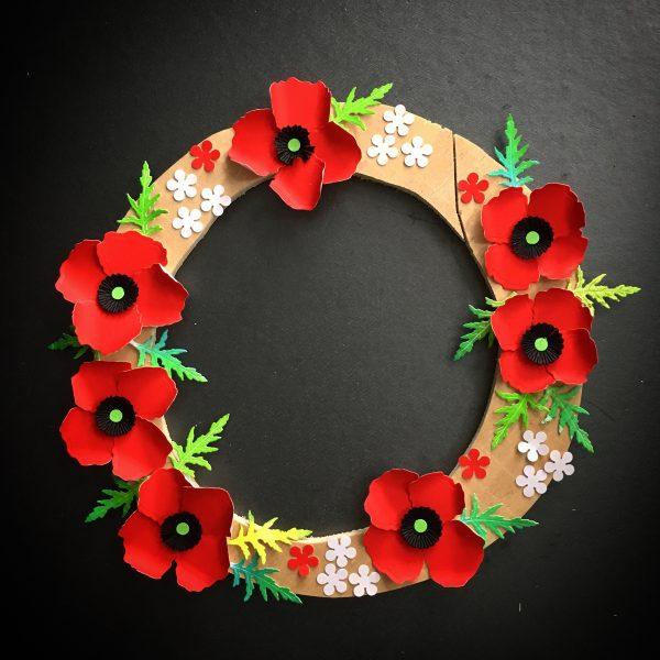 ANZAC poppy flower wreath