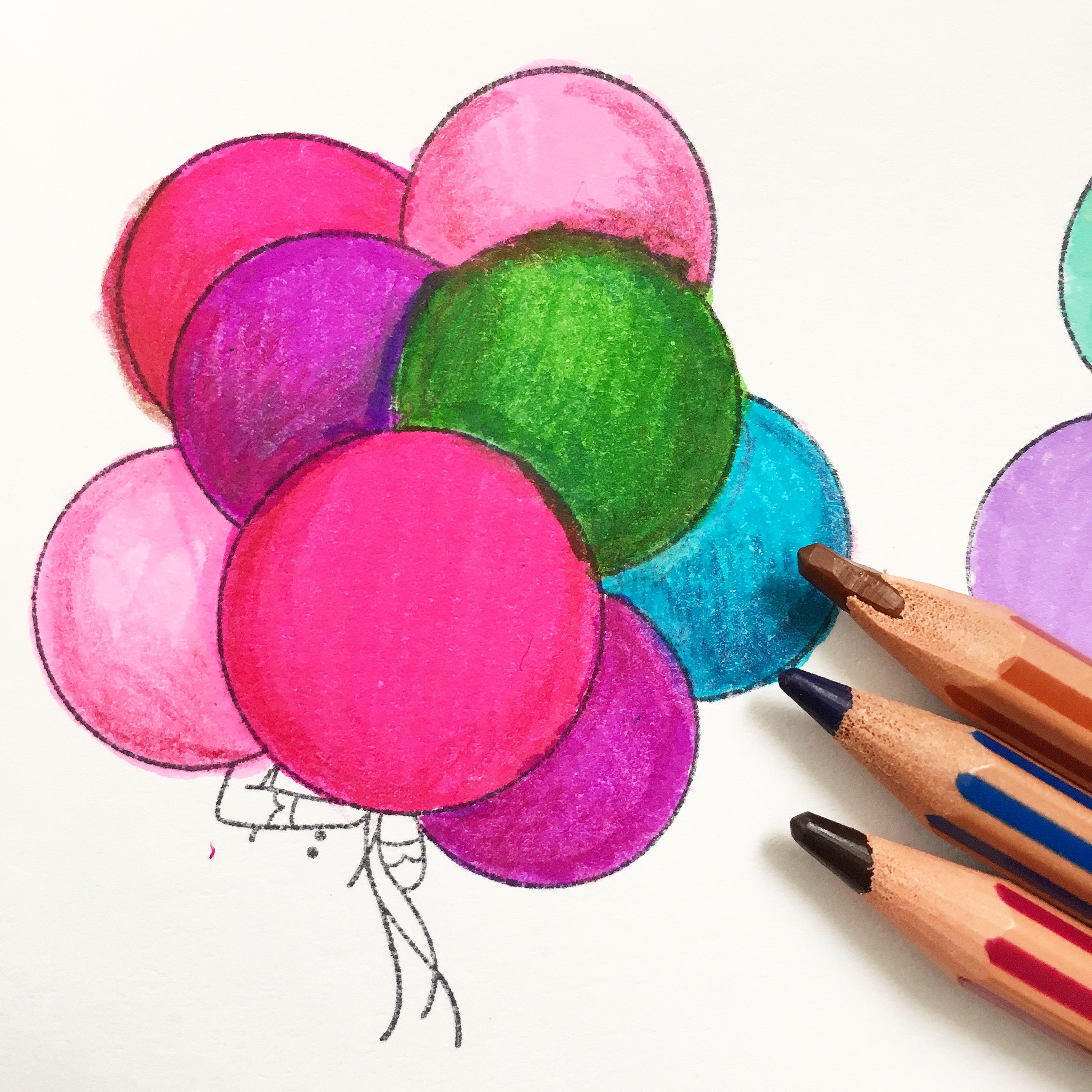green, pink, purple and blue balloons, coloured with markers and pencils