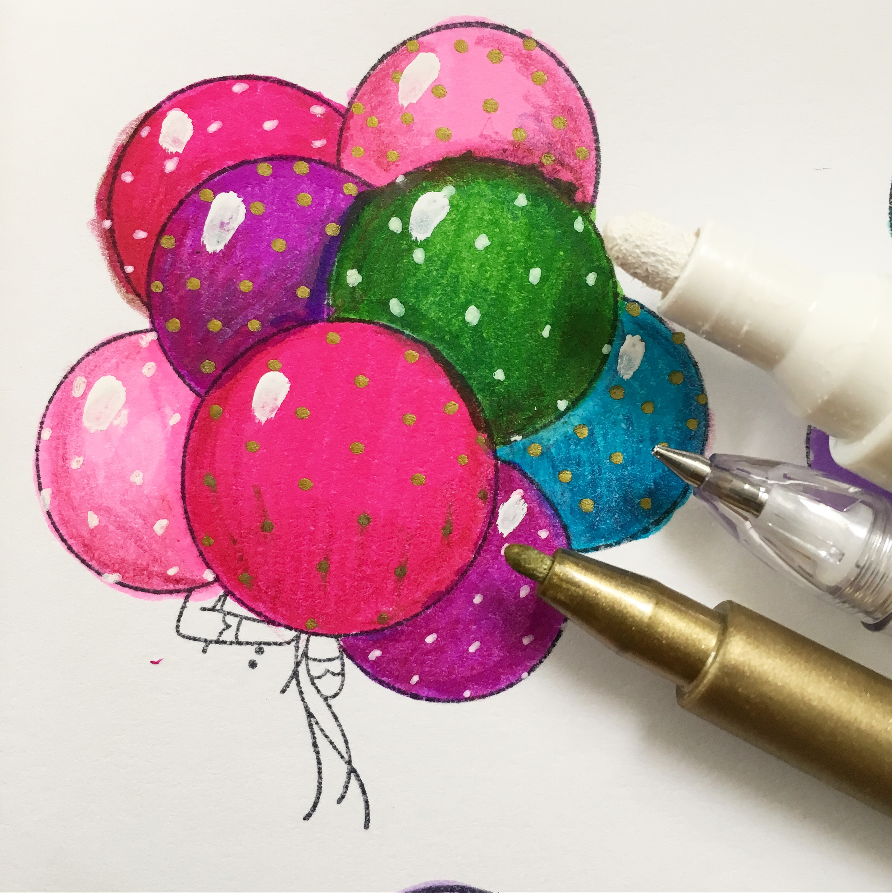 colourful balloons, hand drawn, in pink, purple, green and blue