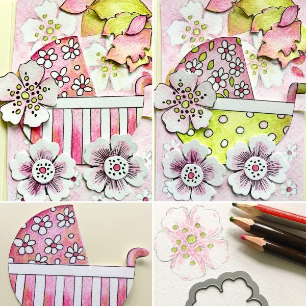 two baby girl greeting cards in pink and gray, made only with the materials from my capsule craft collection