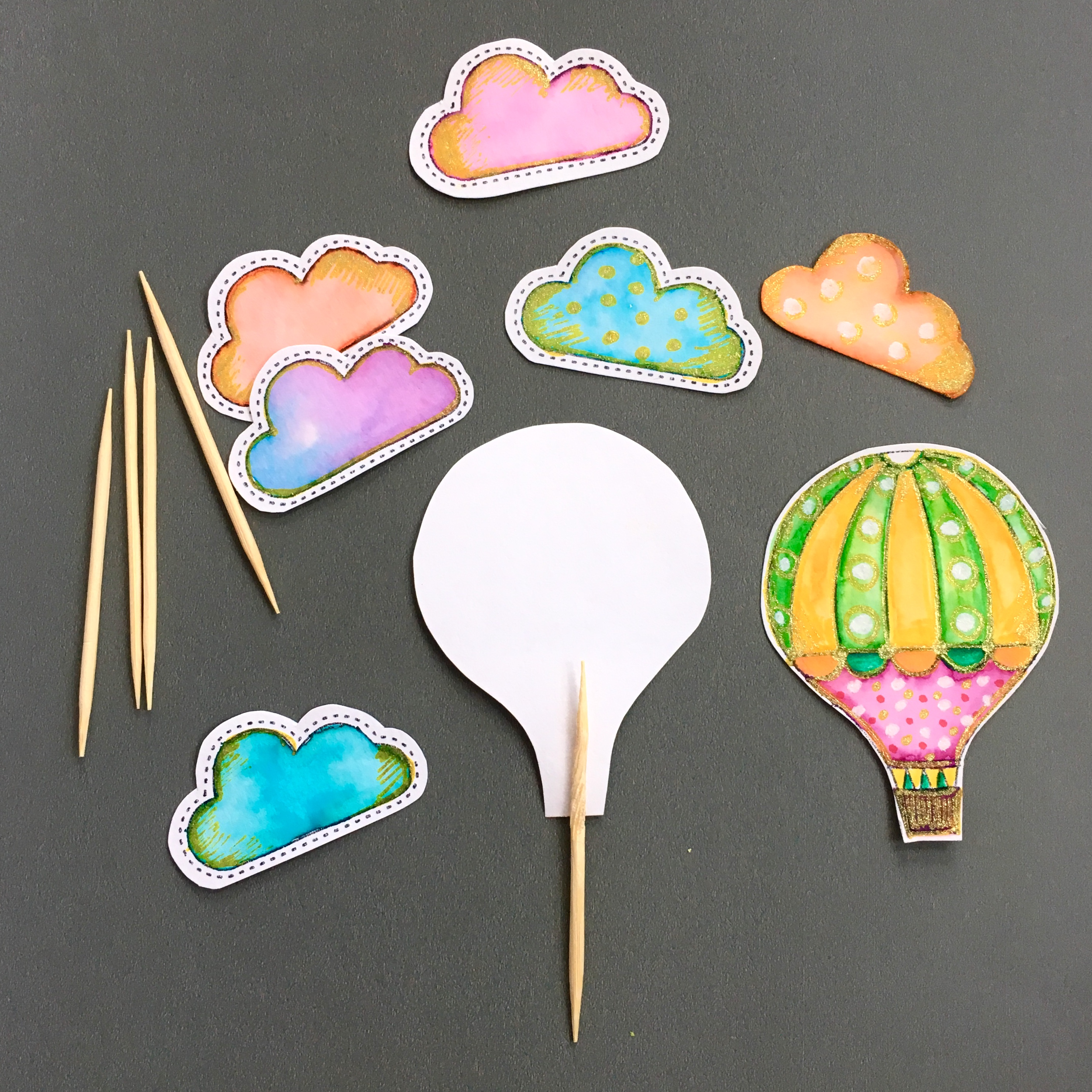 hand drawn and cut elements for muffin toppers and toots sticks