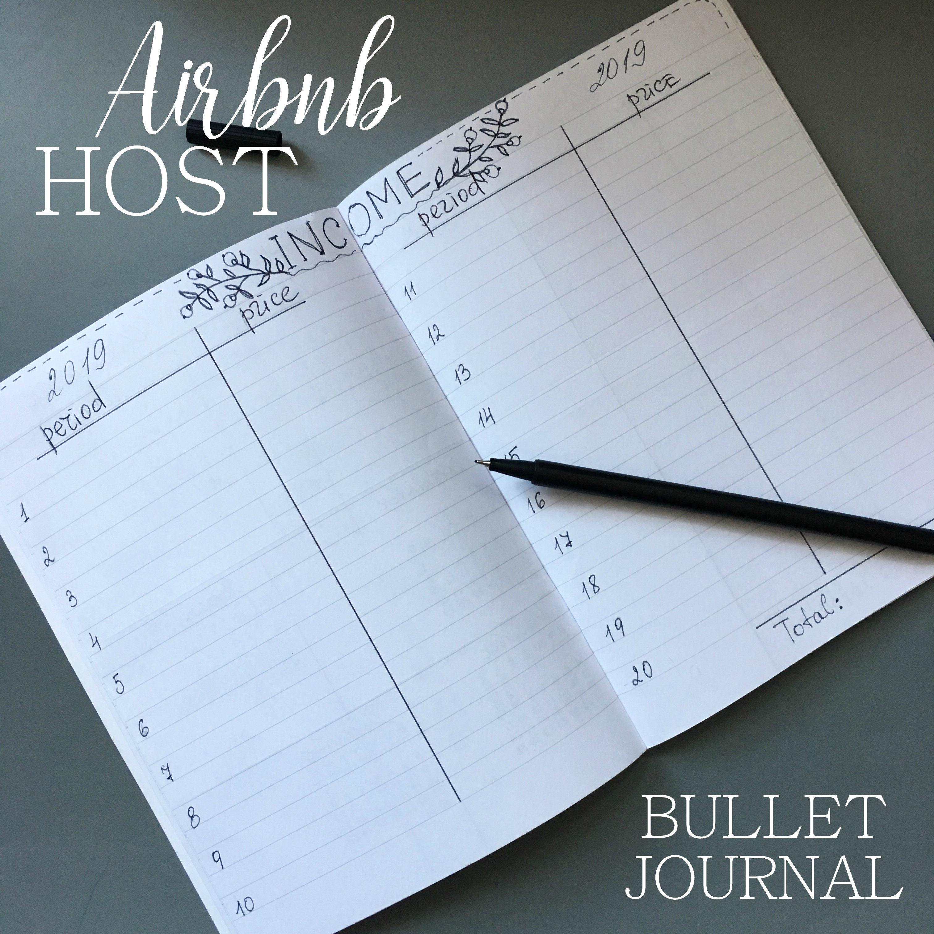 page of a Airbnb host bullet journal - Income - black ink on white pages