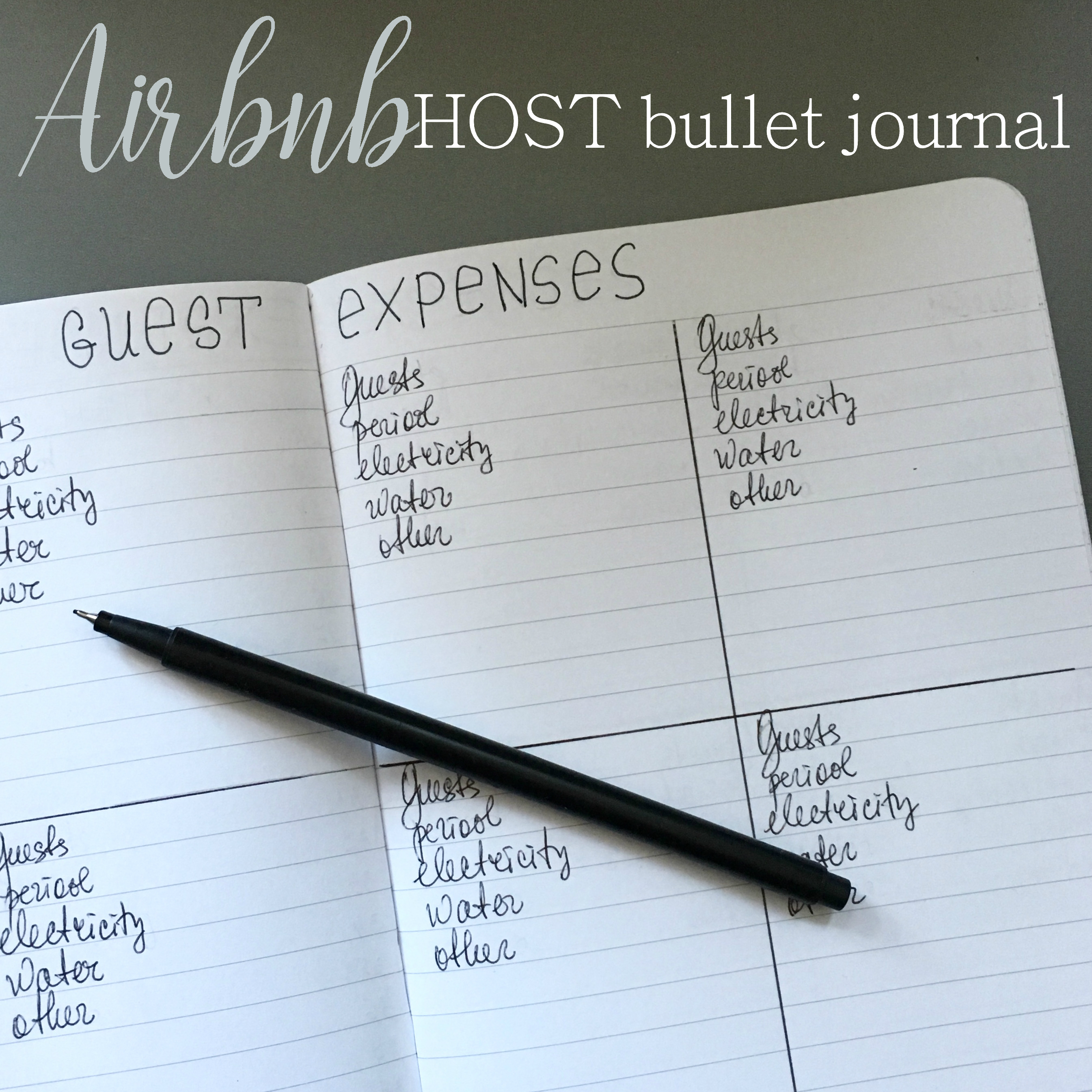 page of a Airbnb host bullet journal - Guest expenses - black ink on white pages