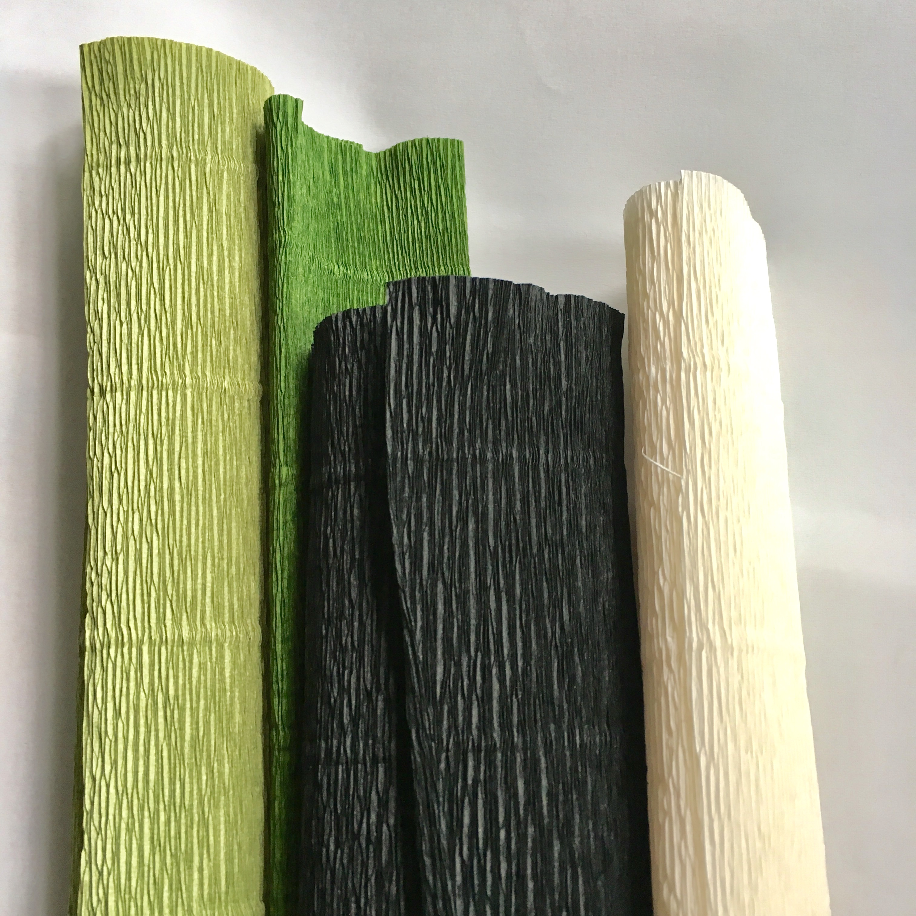 crepe papers in green, black and white