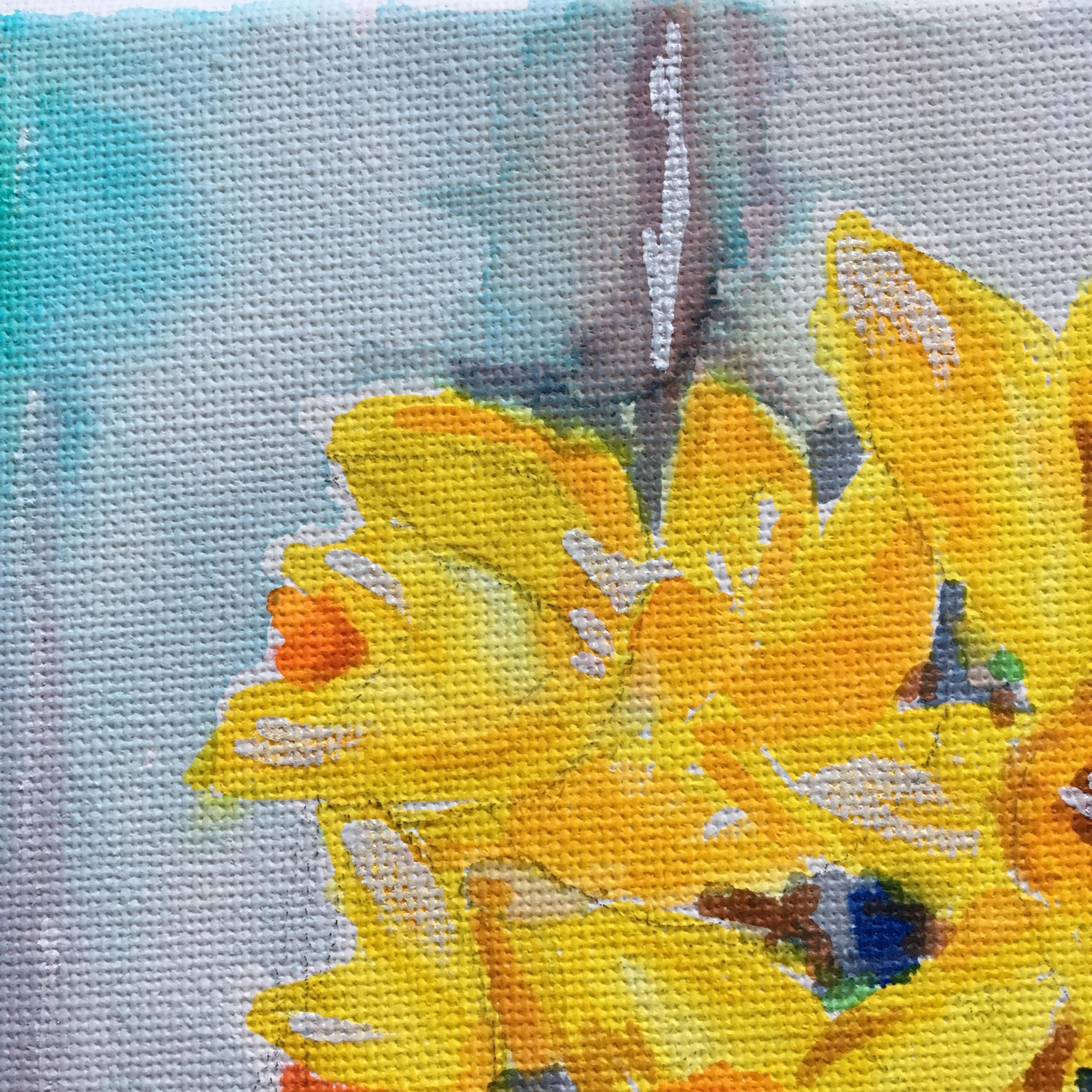 yellow daffodils watercolour detail
