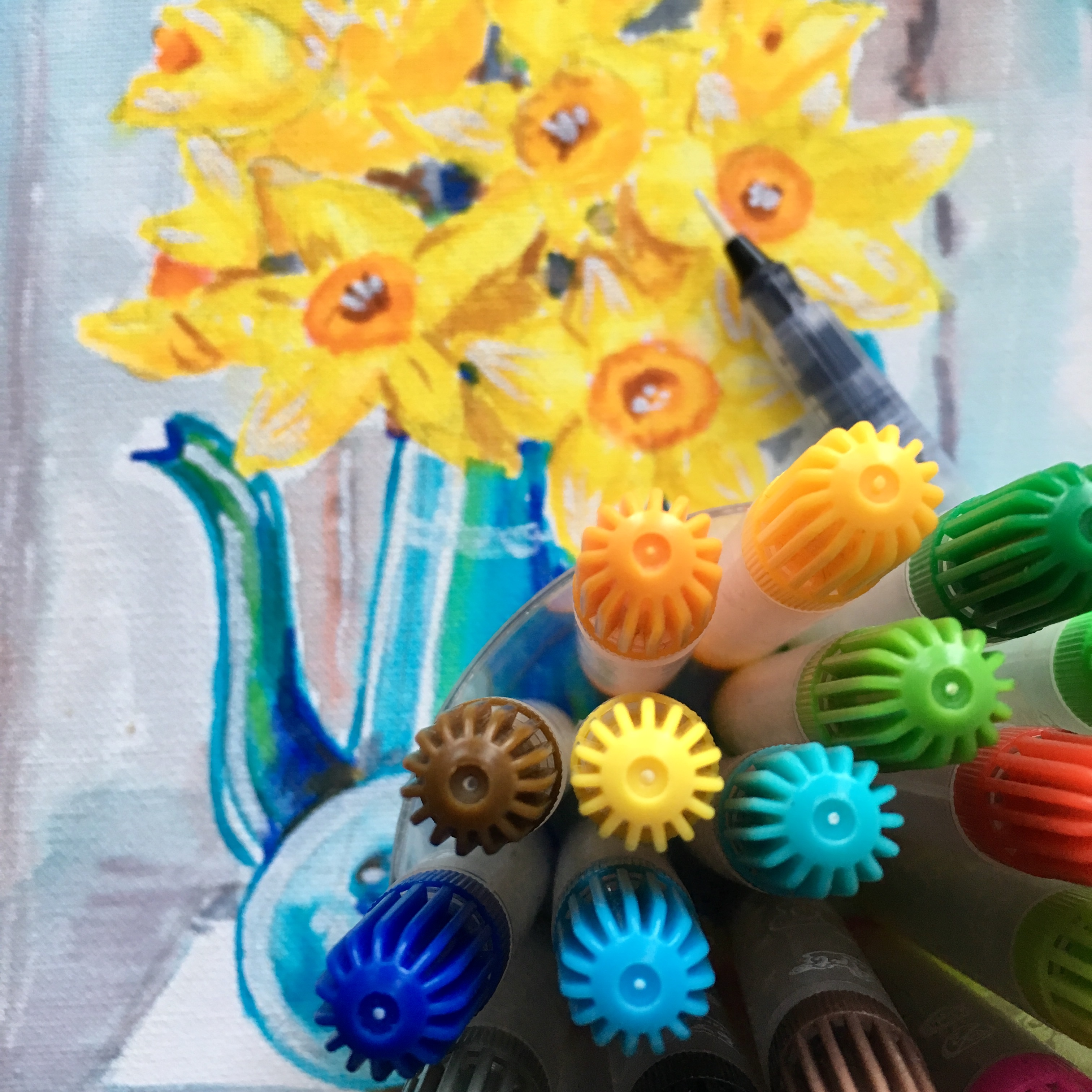 yellow daffodils with blue vase watercolour
