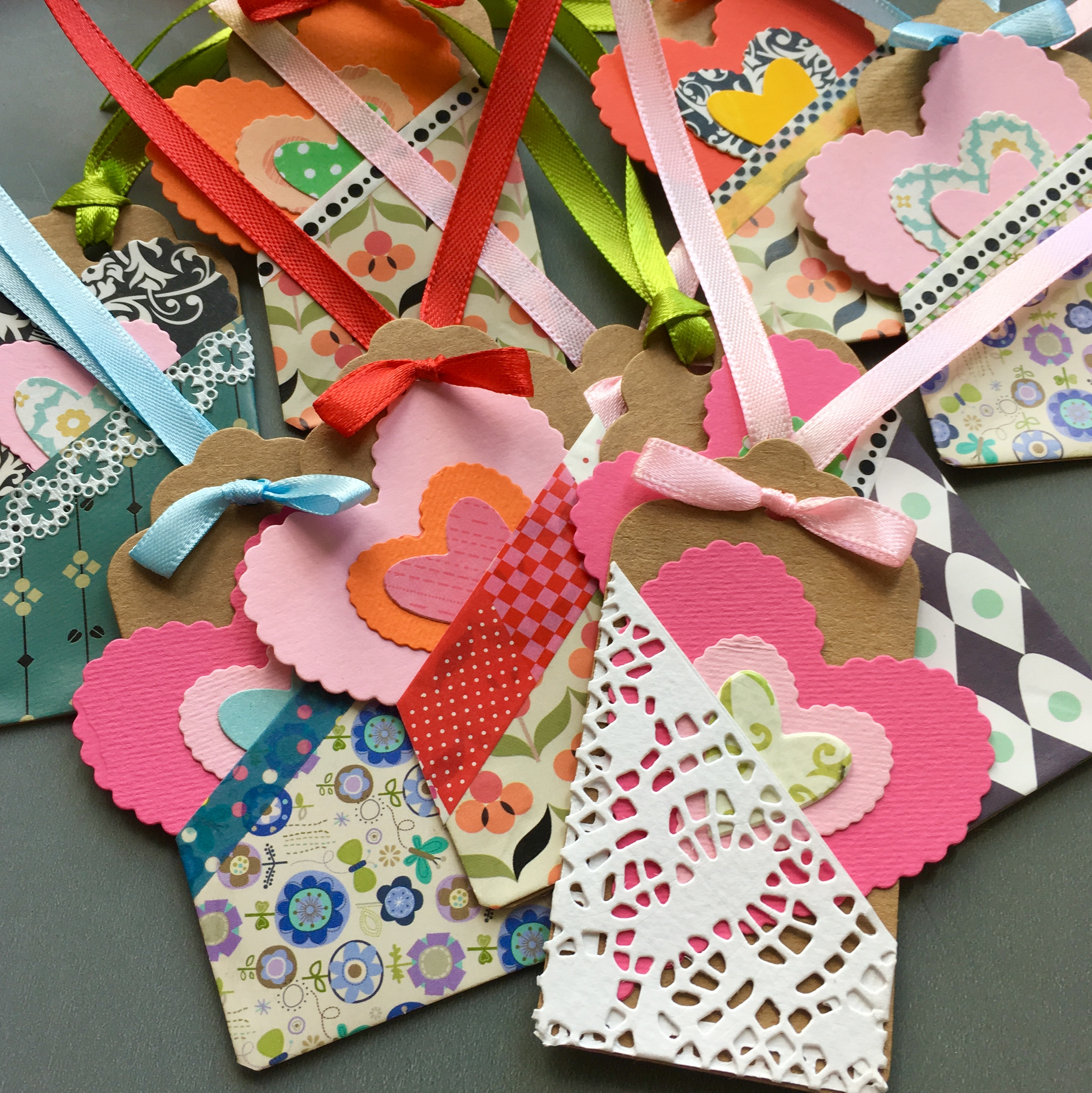 colourful figt tags with pockets and hearts in the pocket