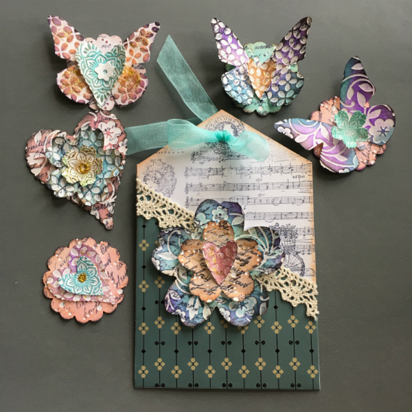 pocketed greeting card and paper embellishments