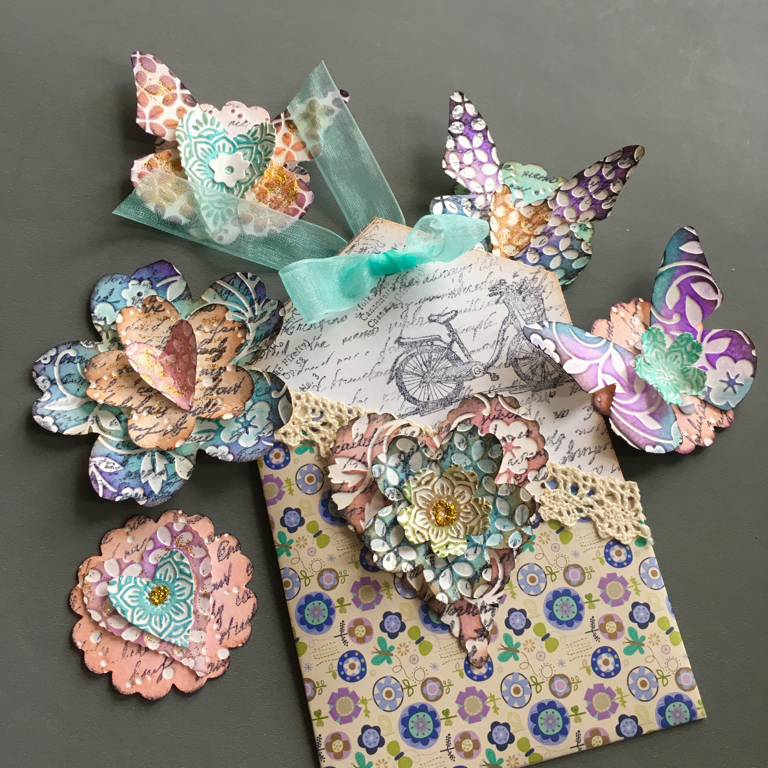pocket greeting card with paper embellishments
