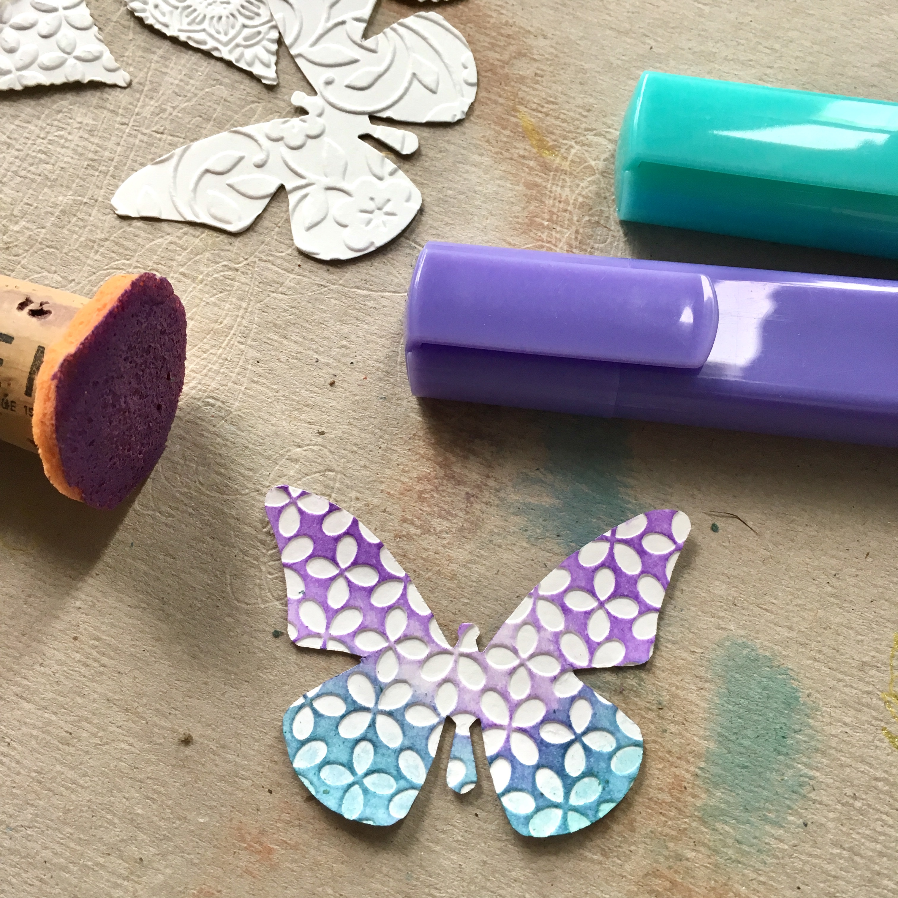coloured embossed paper butterfly