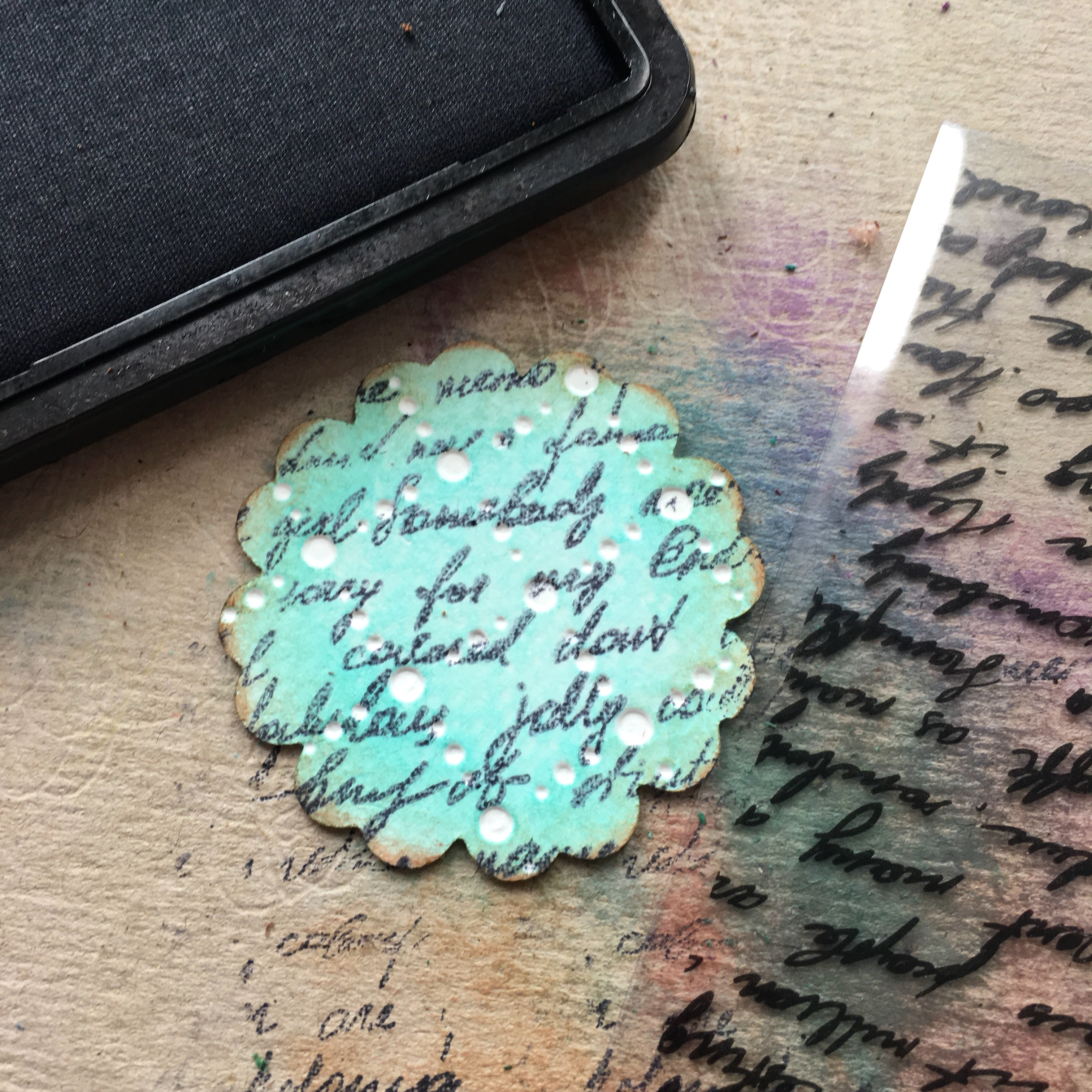 embossed and stamped turquoise floral element