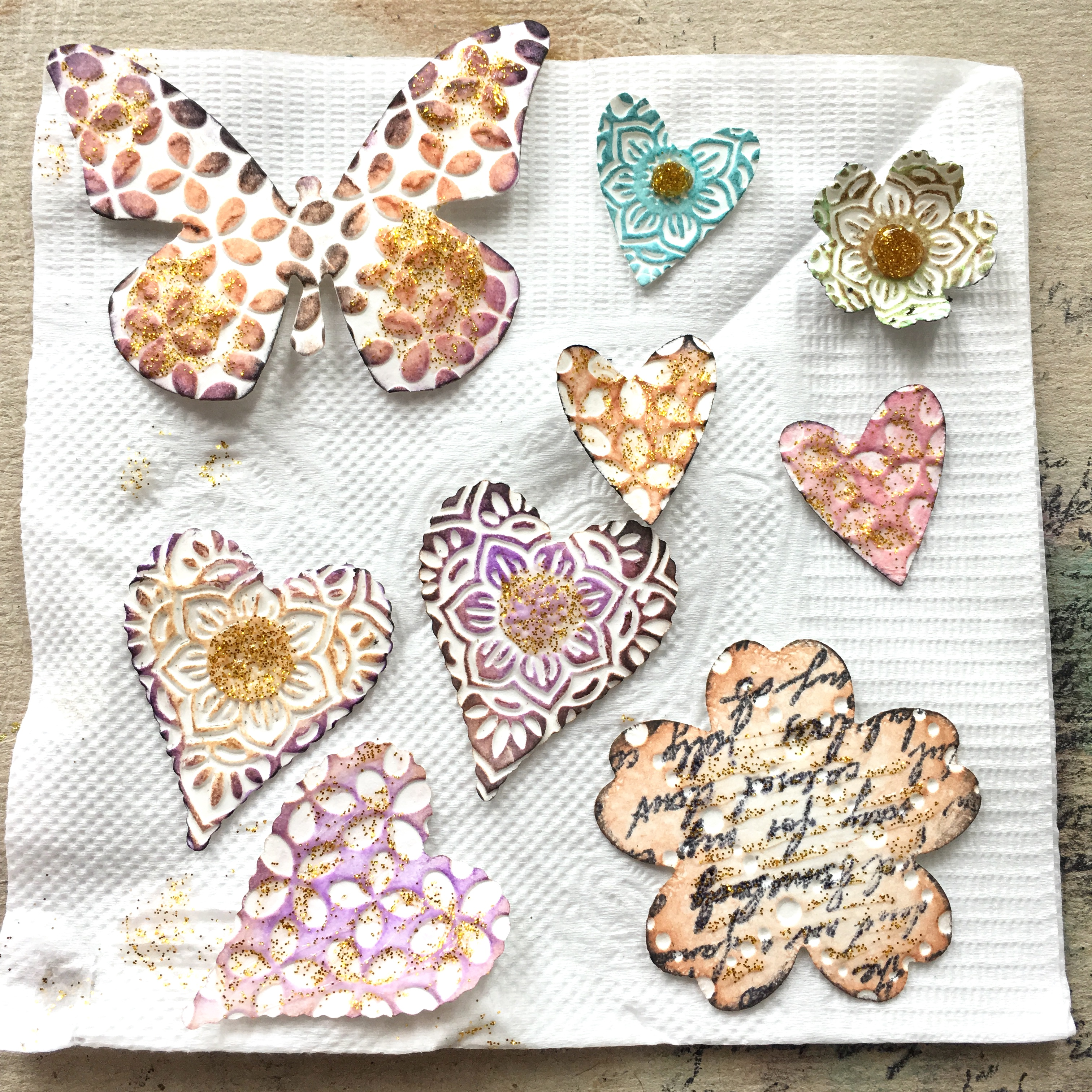 drying paper embellishments with glitter glue