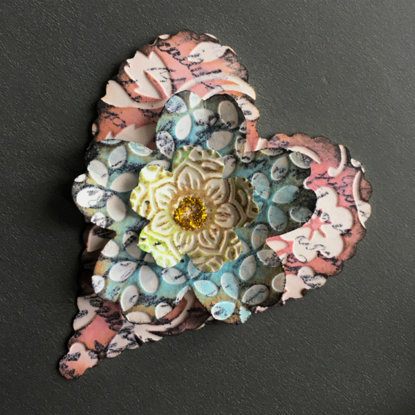 heart and flower paper embellishment