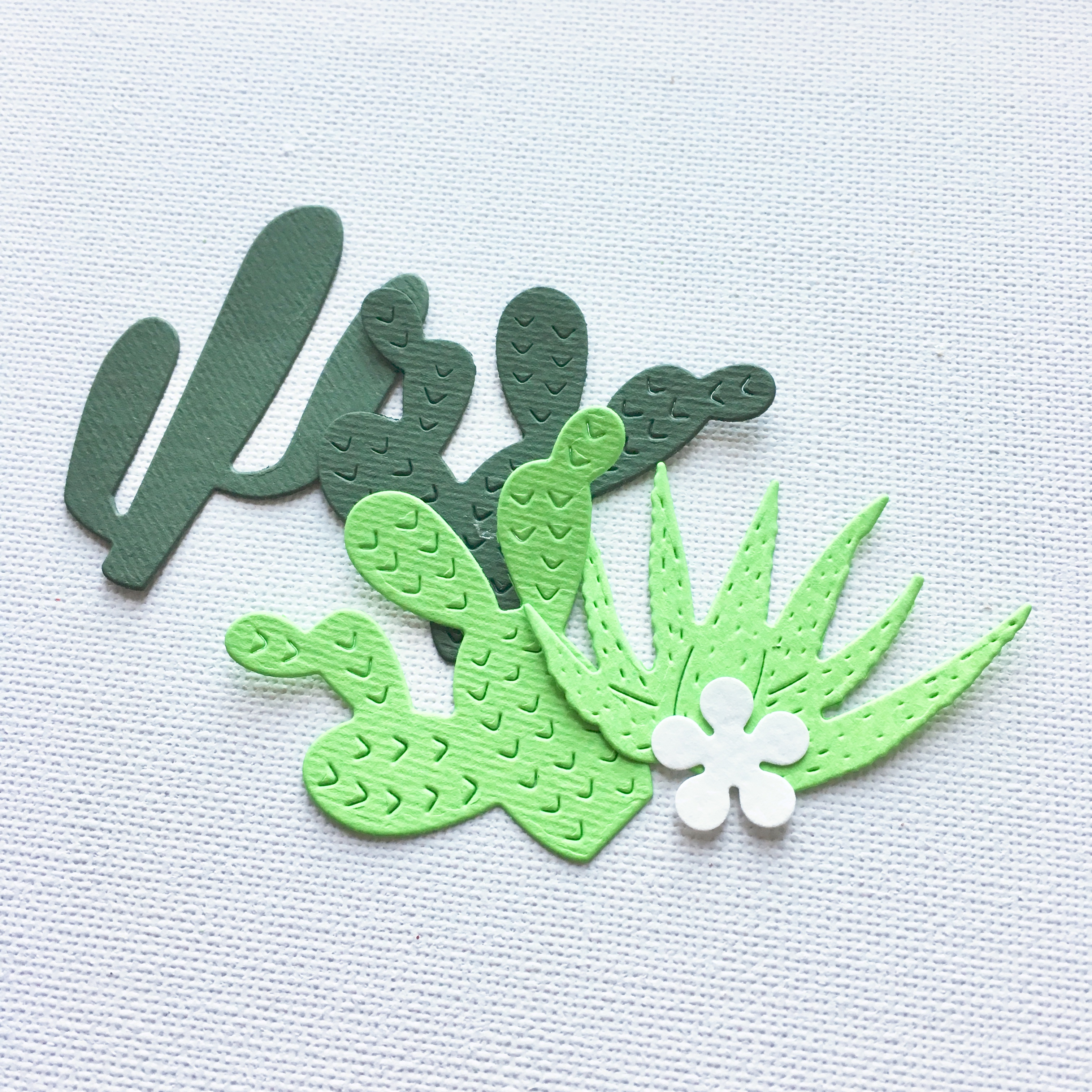 cactus shapes - dark green and light green paper