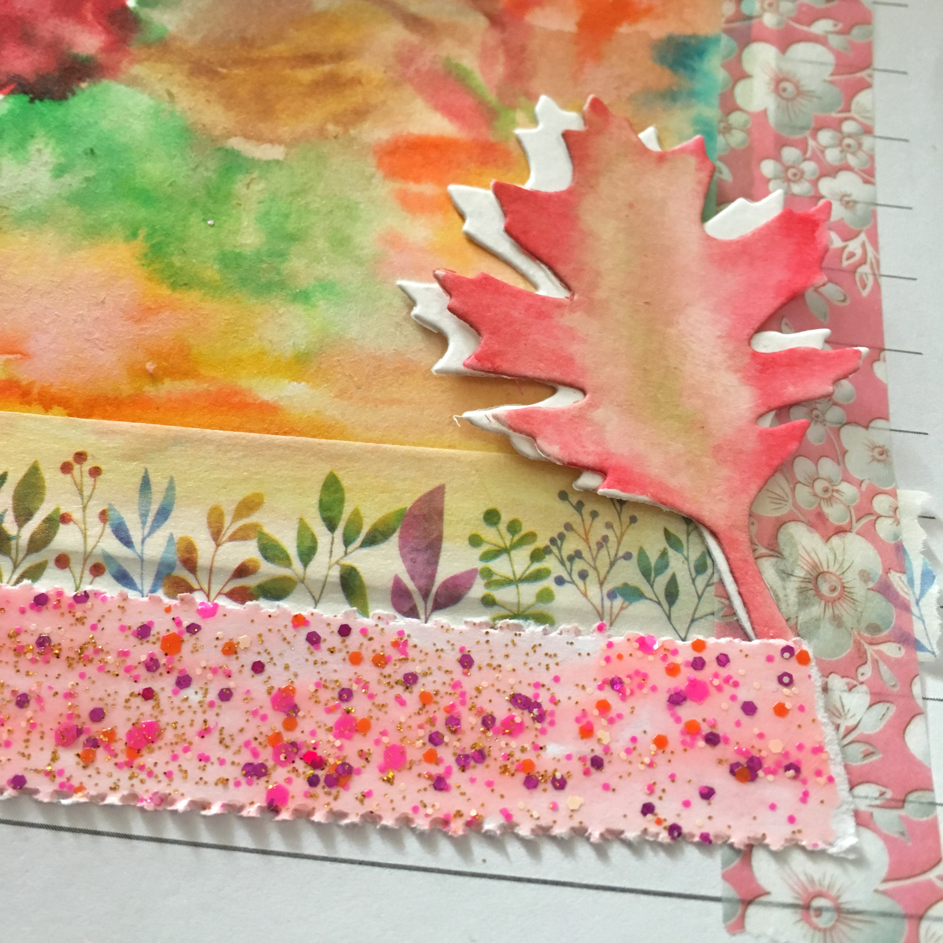 pink Autumn leaf and the glitter washi tape from the previous picture