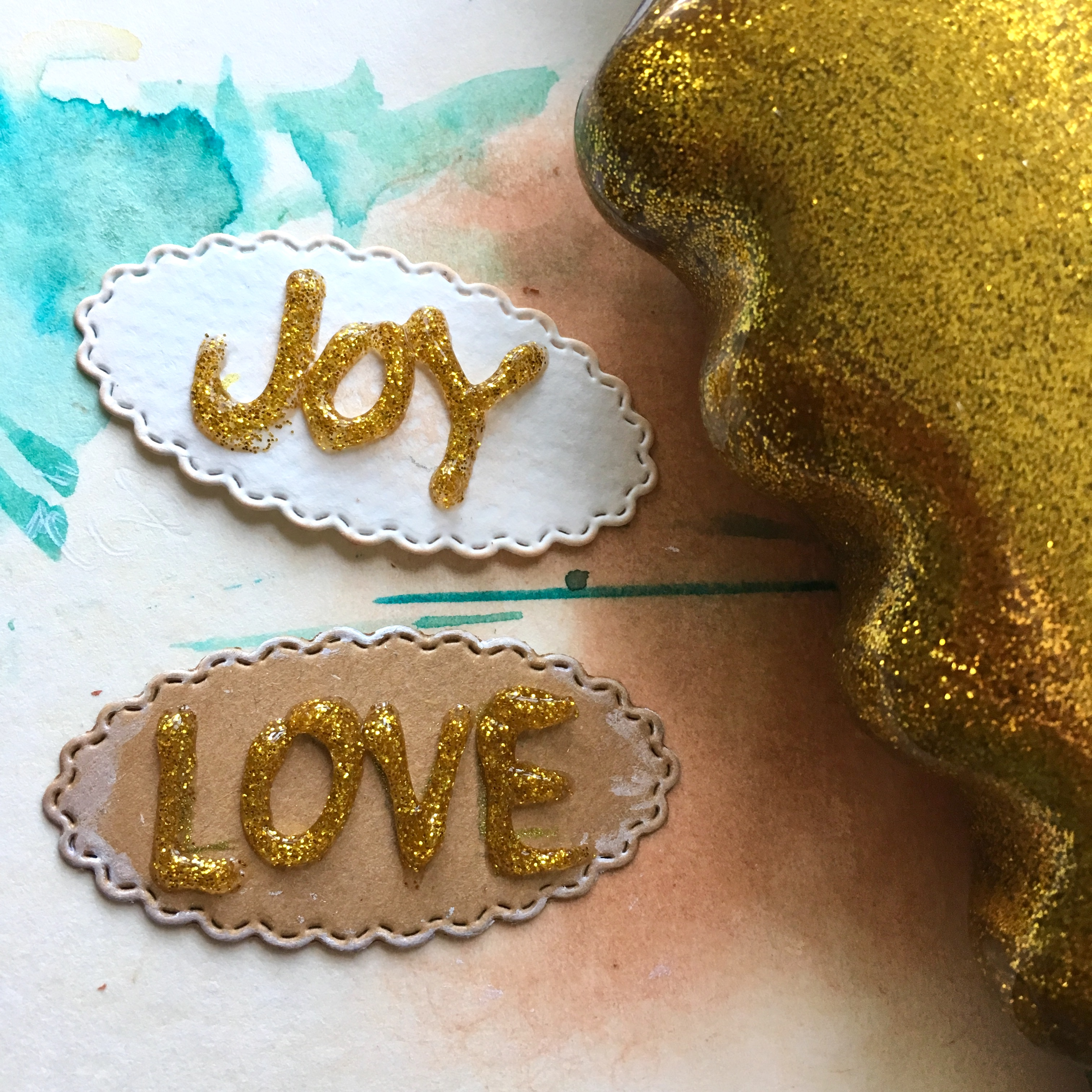 glitter glue messages LOVE and JOY