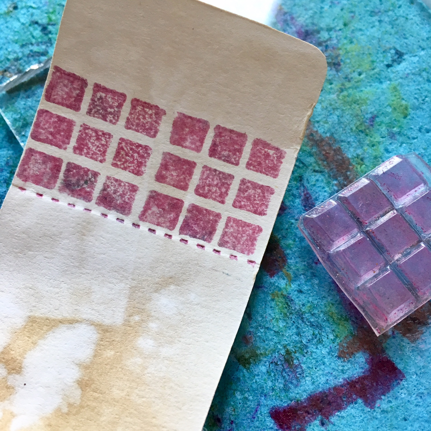 stamping with rectangle stamp and dark red ink