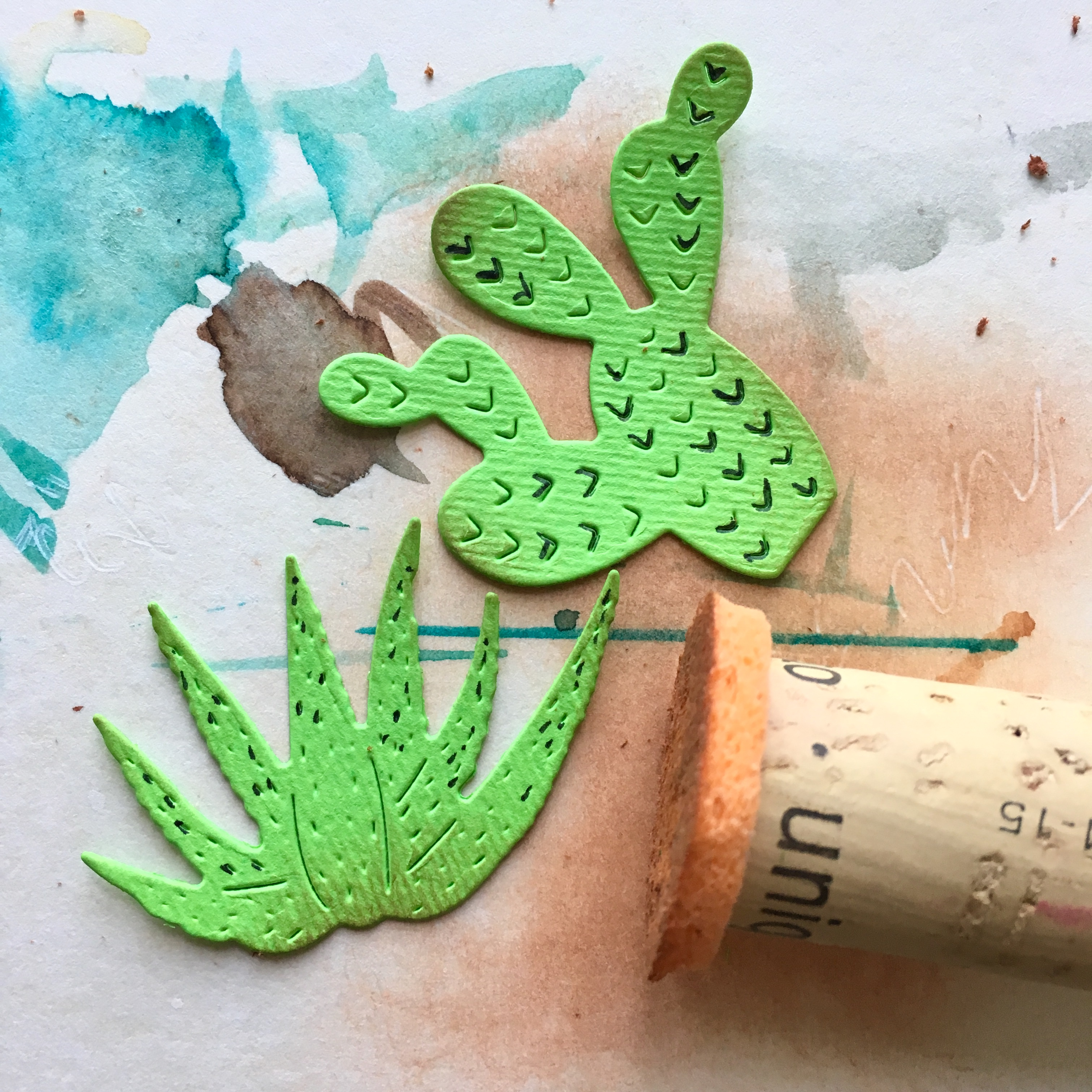 blending the cactus shapes with my favourite blending tool - cork with a kitchen sponge