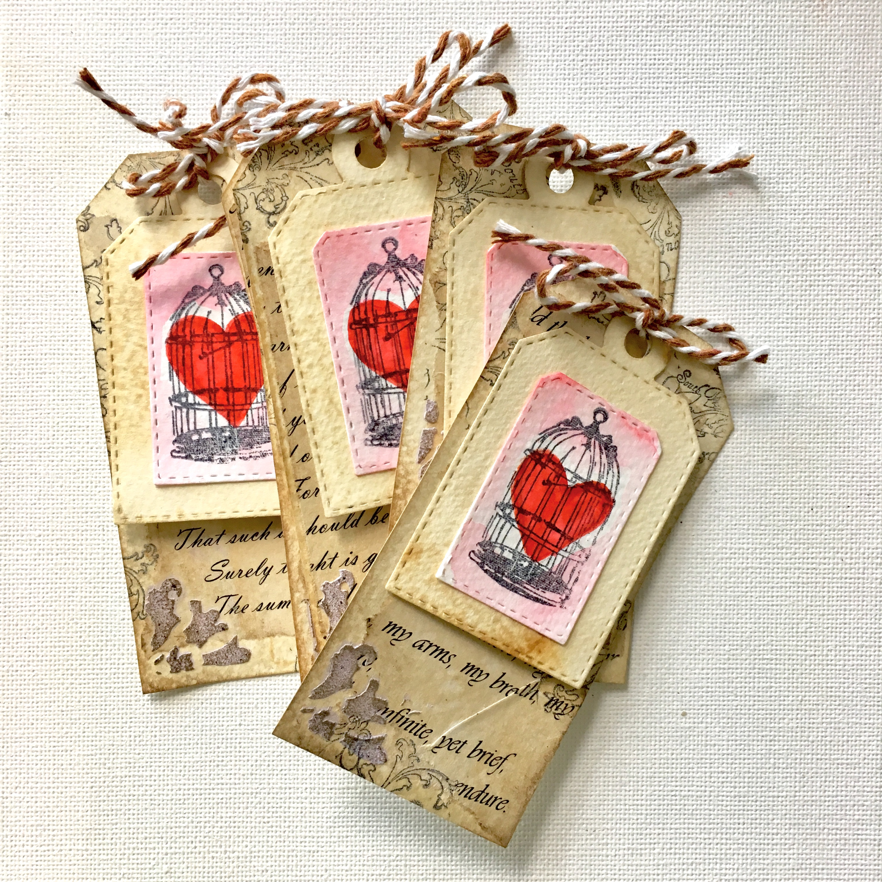 Vintage Valentine love gift tags - ready