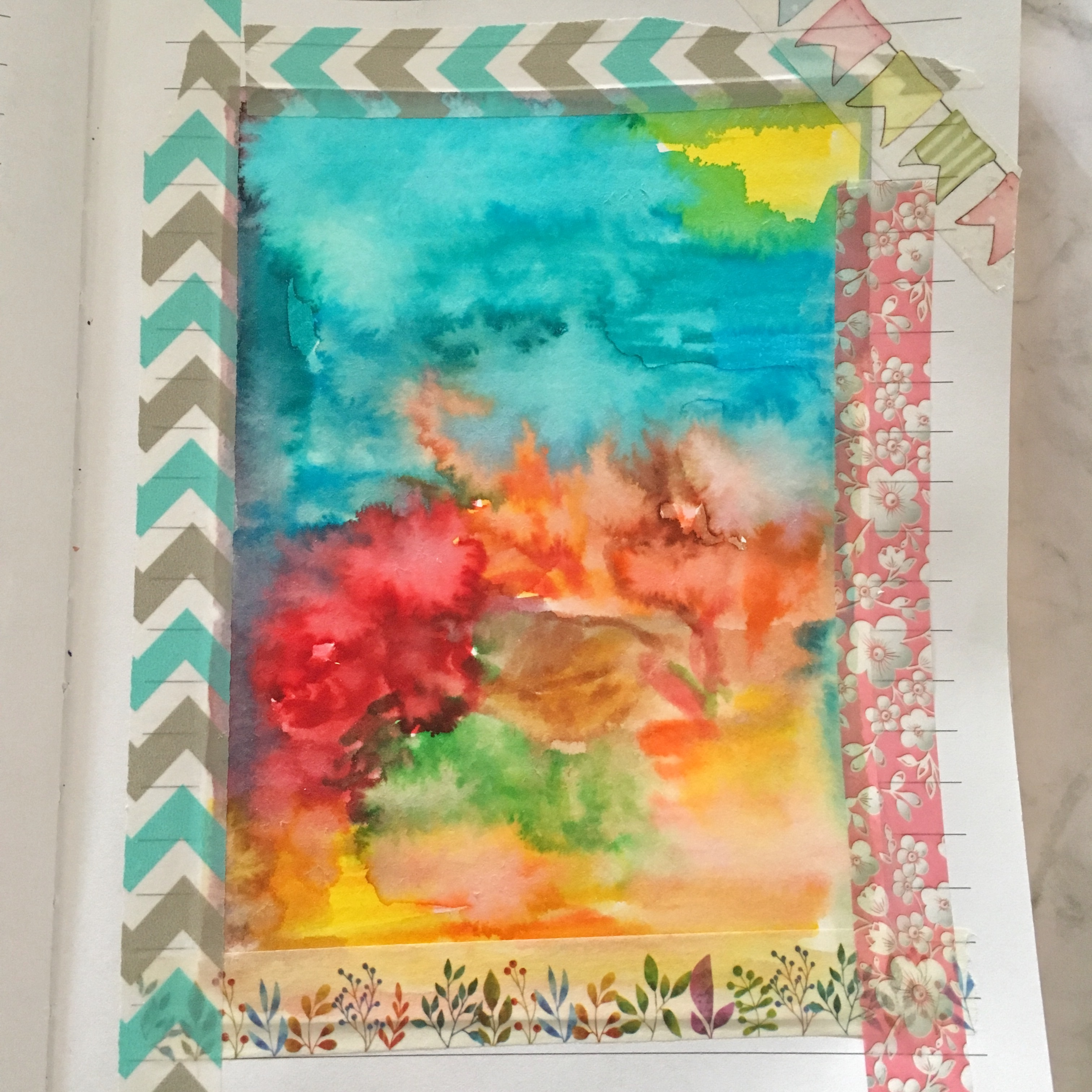 watercolour drawing of sea, sun, Pelargonium blossoms and leaves - the sketch from the previous picture, treated with water. Some washi tape in blue and pink with flowers to secure the edges