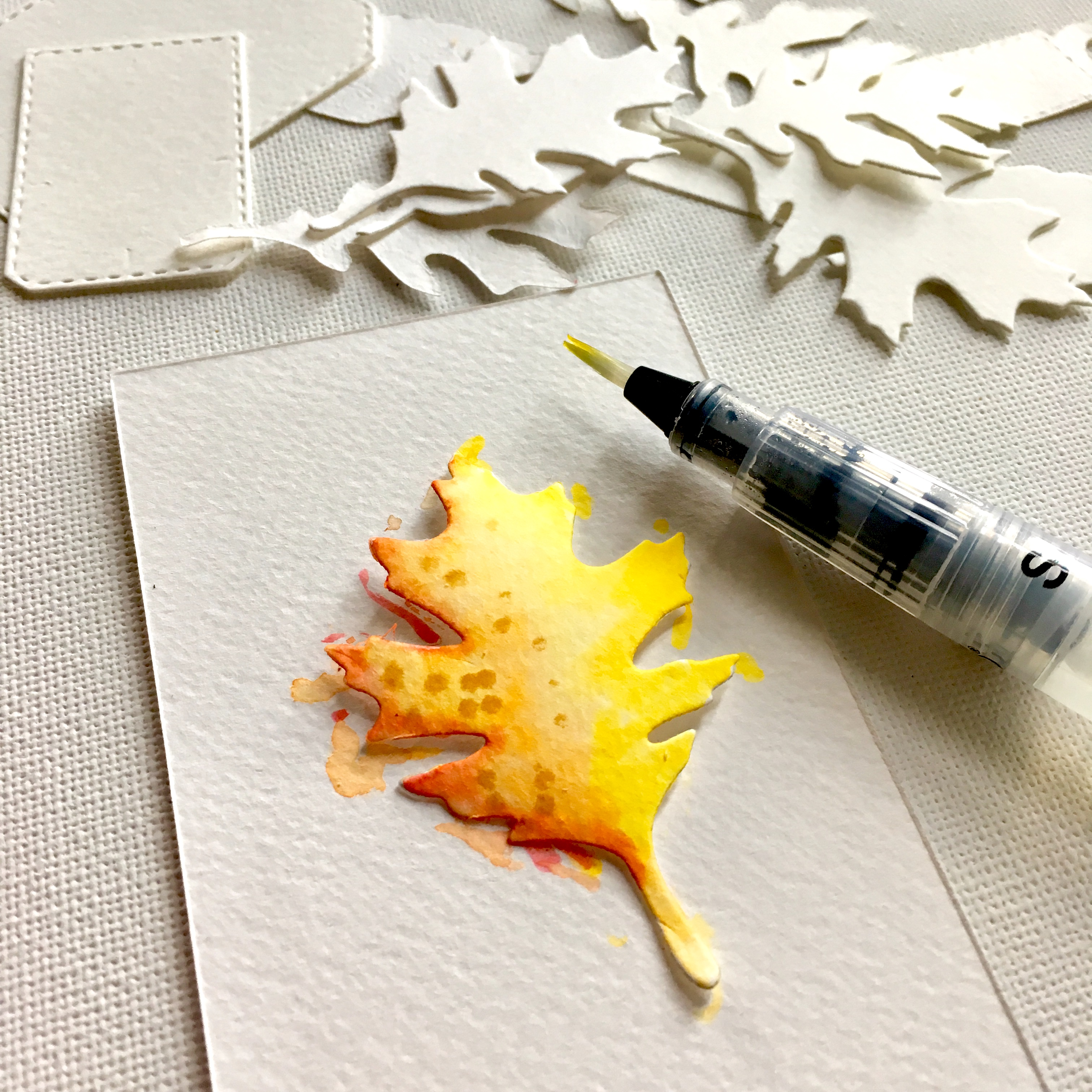 yellow leaf coloured with watercolour on white paper background