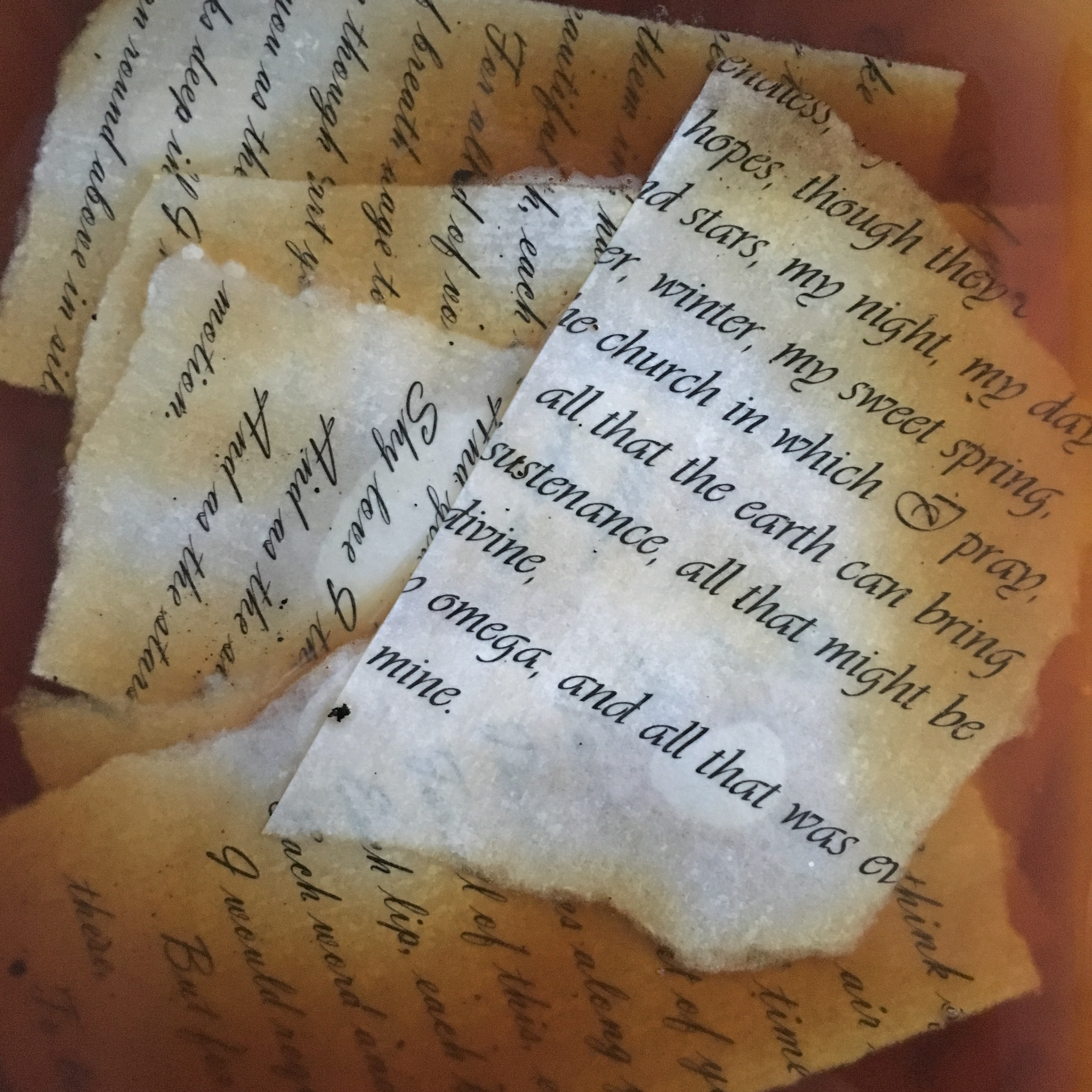 pieces of paper with printed Shakespeare's sonnets sinking in coffee