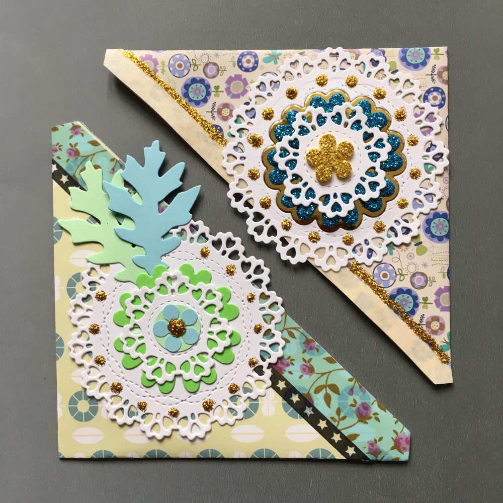 big triangle pocket bookmarks, decorated with scrapbook paper lace and flowers