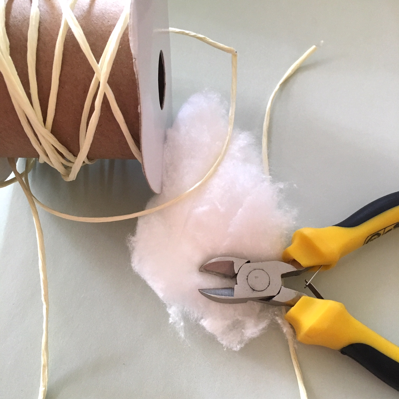 paper wire, pliers, cotton