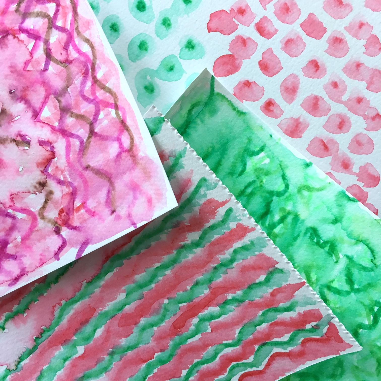 watercolour paper with watercolour drawn patterns