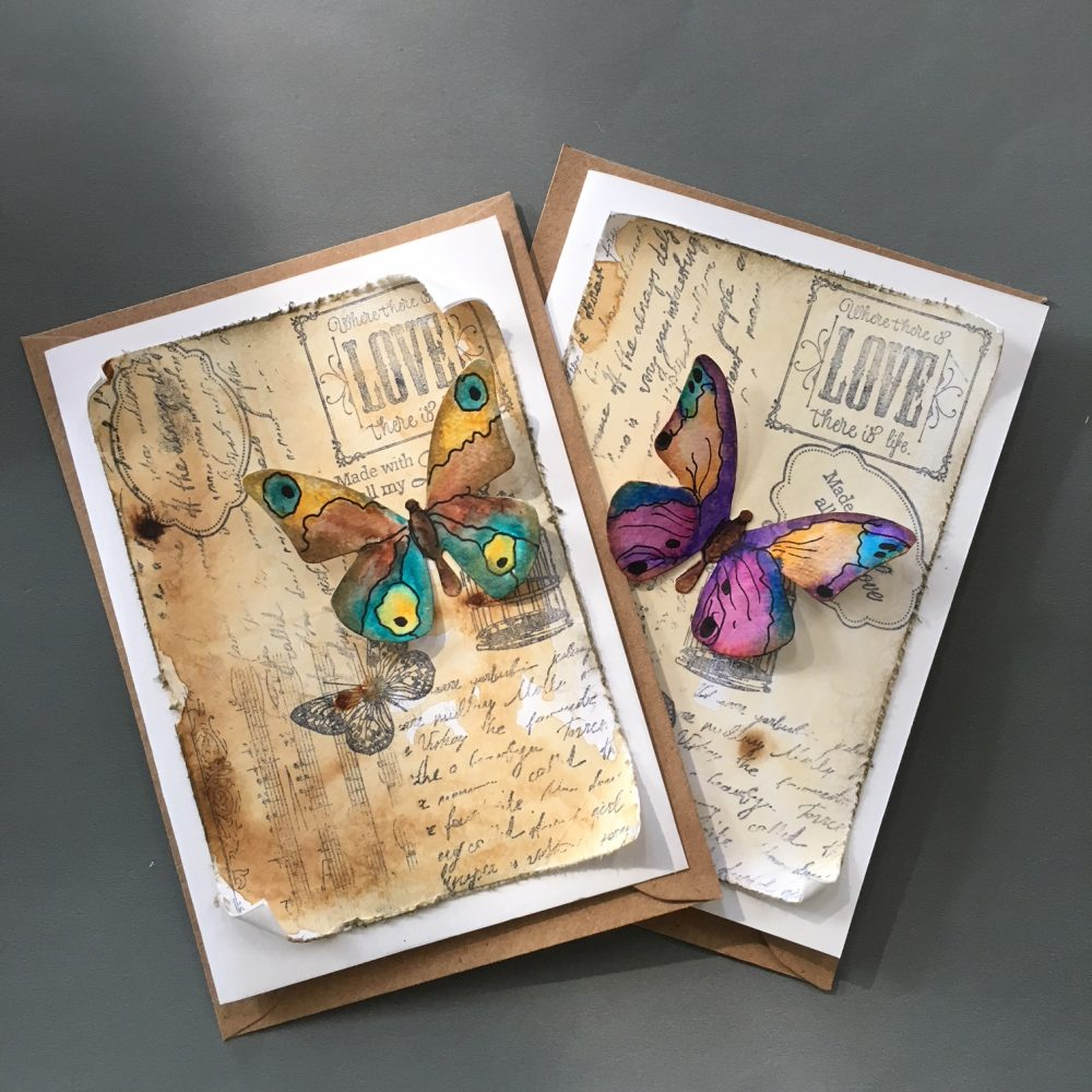 vintage style greeting cards with paper butterflies
