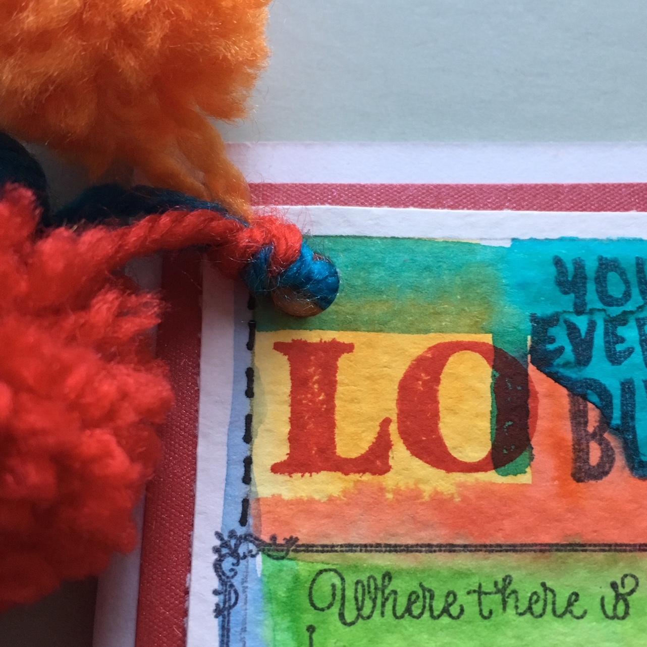 hippie style greeting card - pompom detail