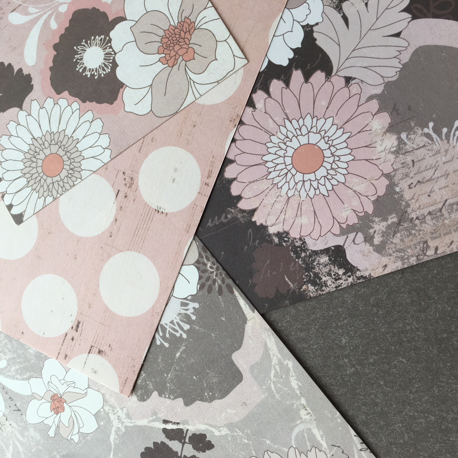 craft papers in rink, grey and brown