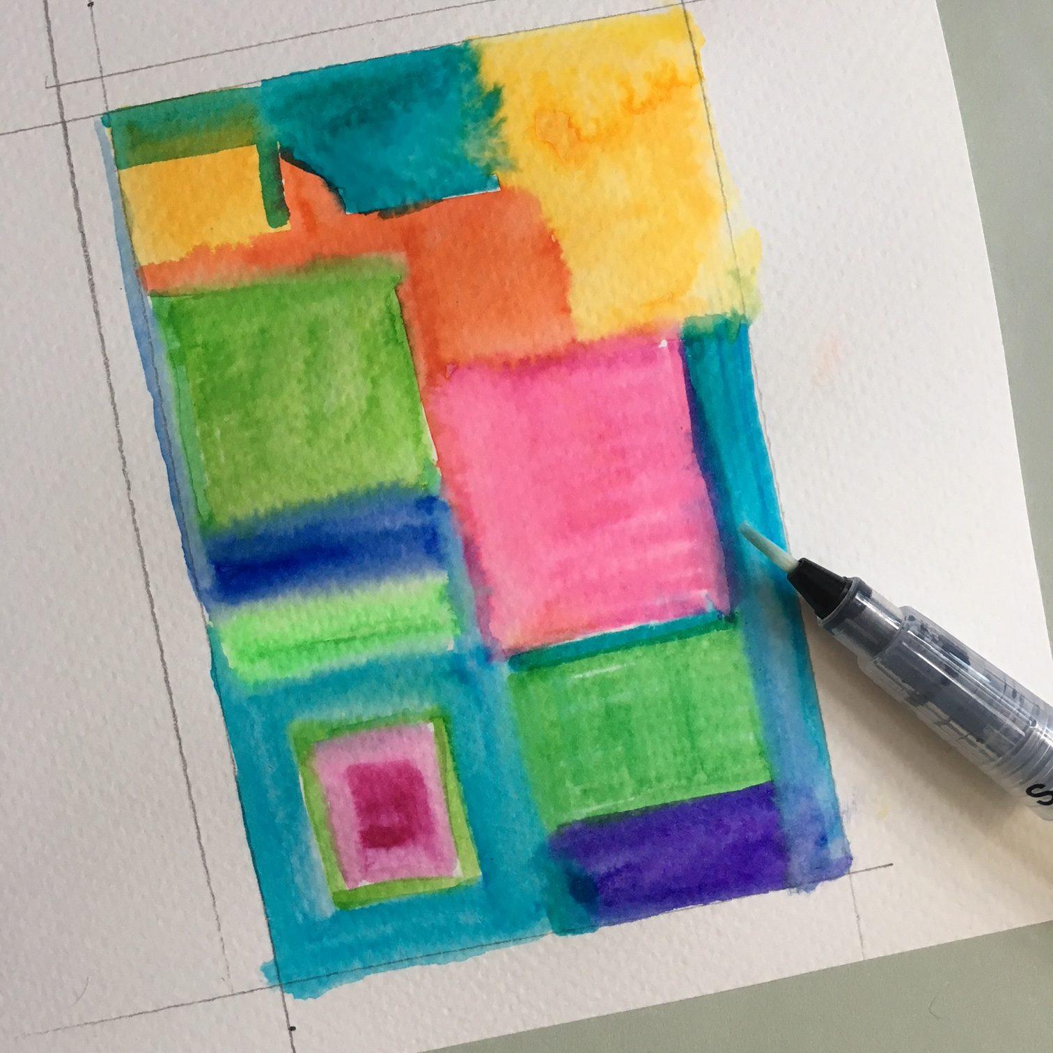 watercolouring the marker strokes