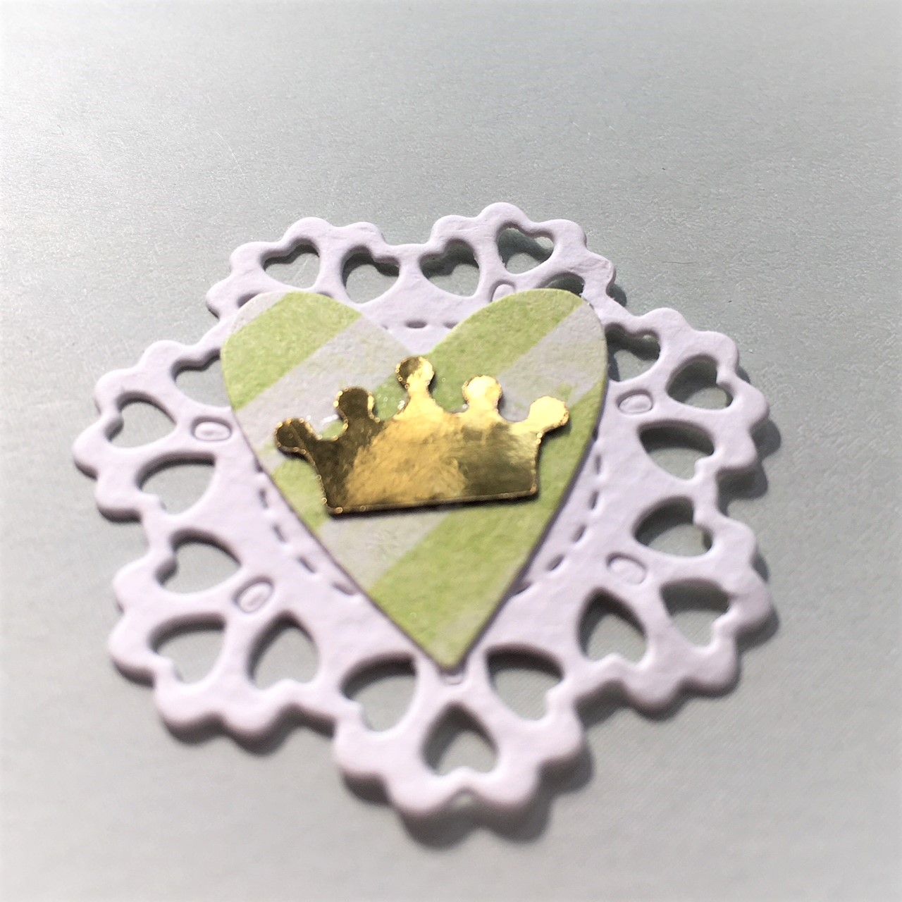 paper embellishment with paper lace, heart and golden cardboard crown - pencils for school princesses