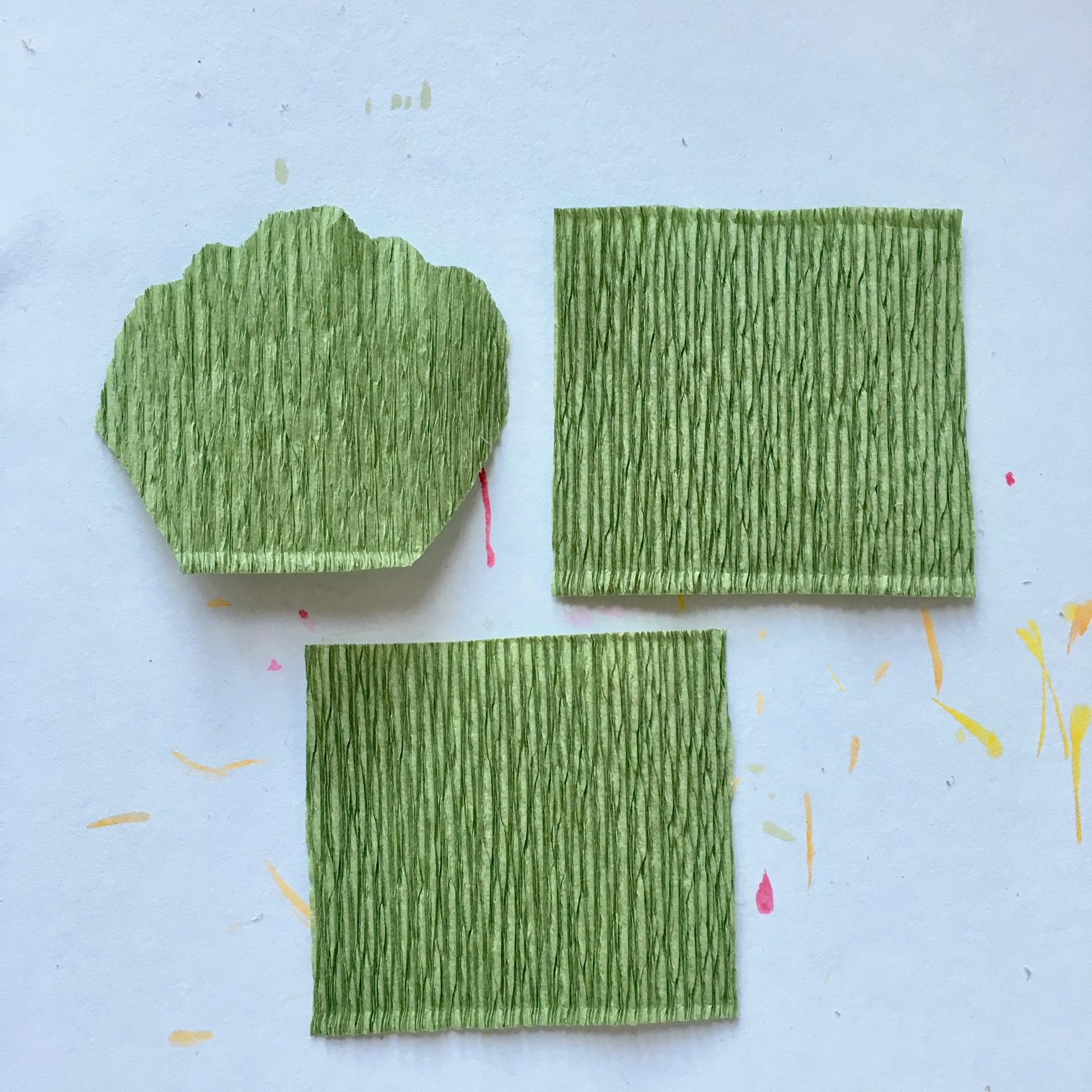 making pelargonium leaves from green crepe paper