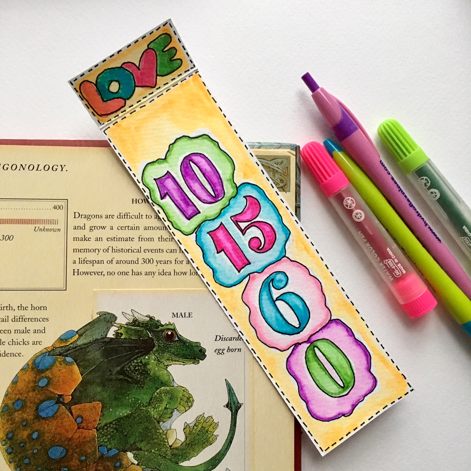 handmade bookmarks with the answers of some sums