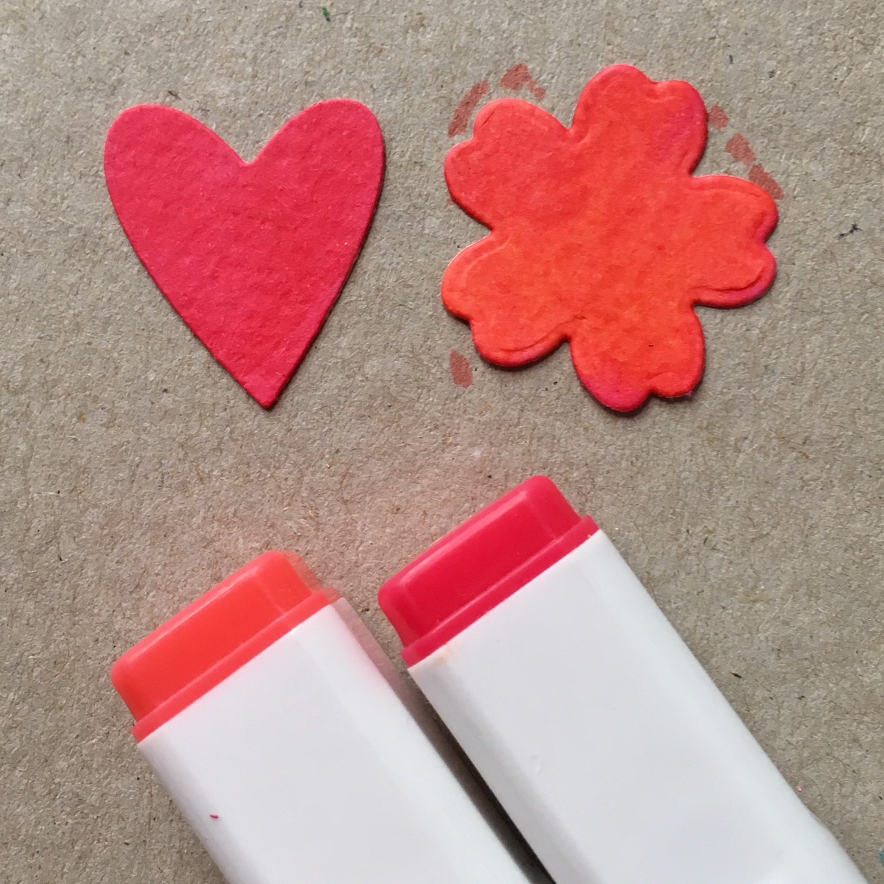 heart and flower shape, coloured with alcohol based markers in strong red and orange-red
