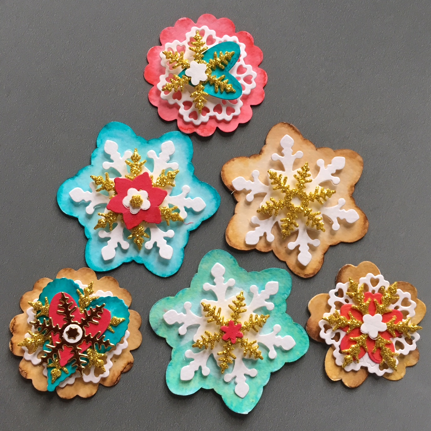 finished gingerbread cookie inspired Christmas paper embellishments