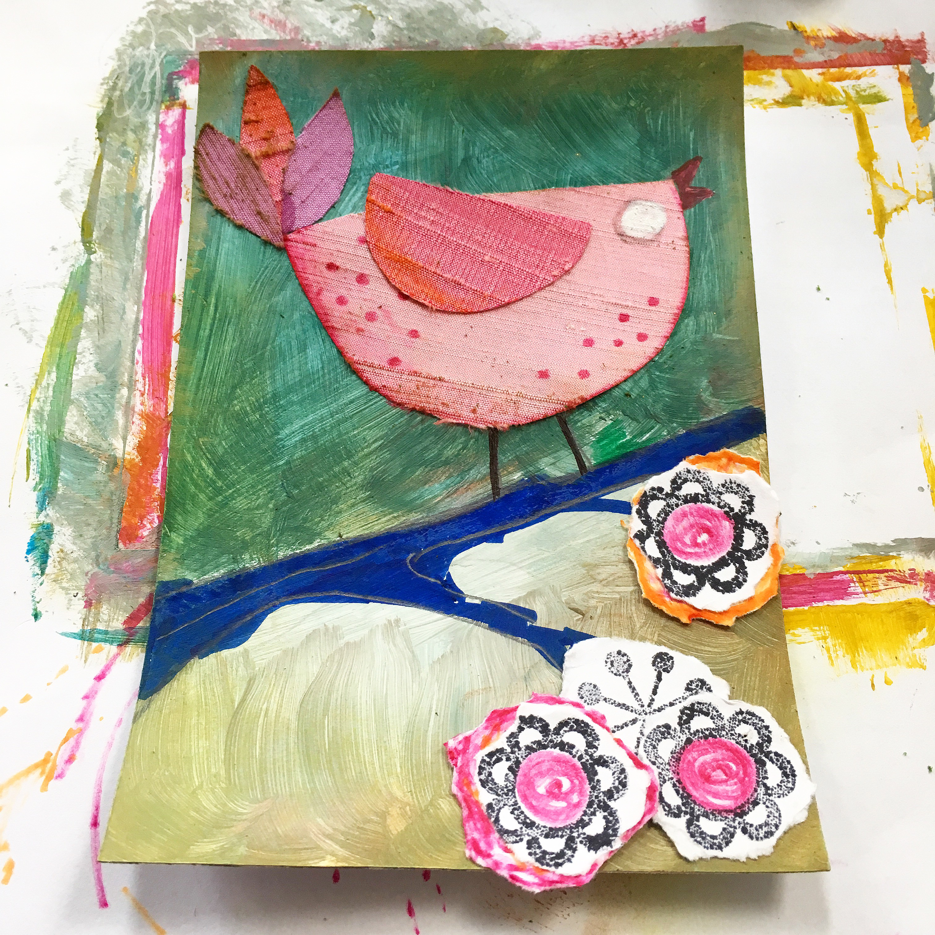 silk fabric collage bird with acrylic background and torn paper flowers