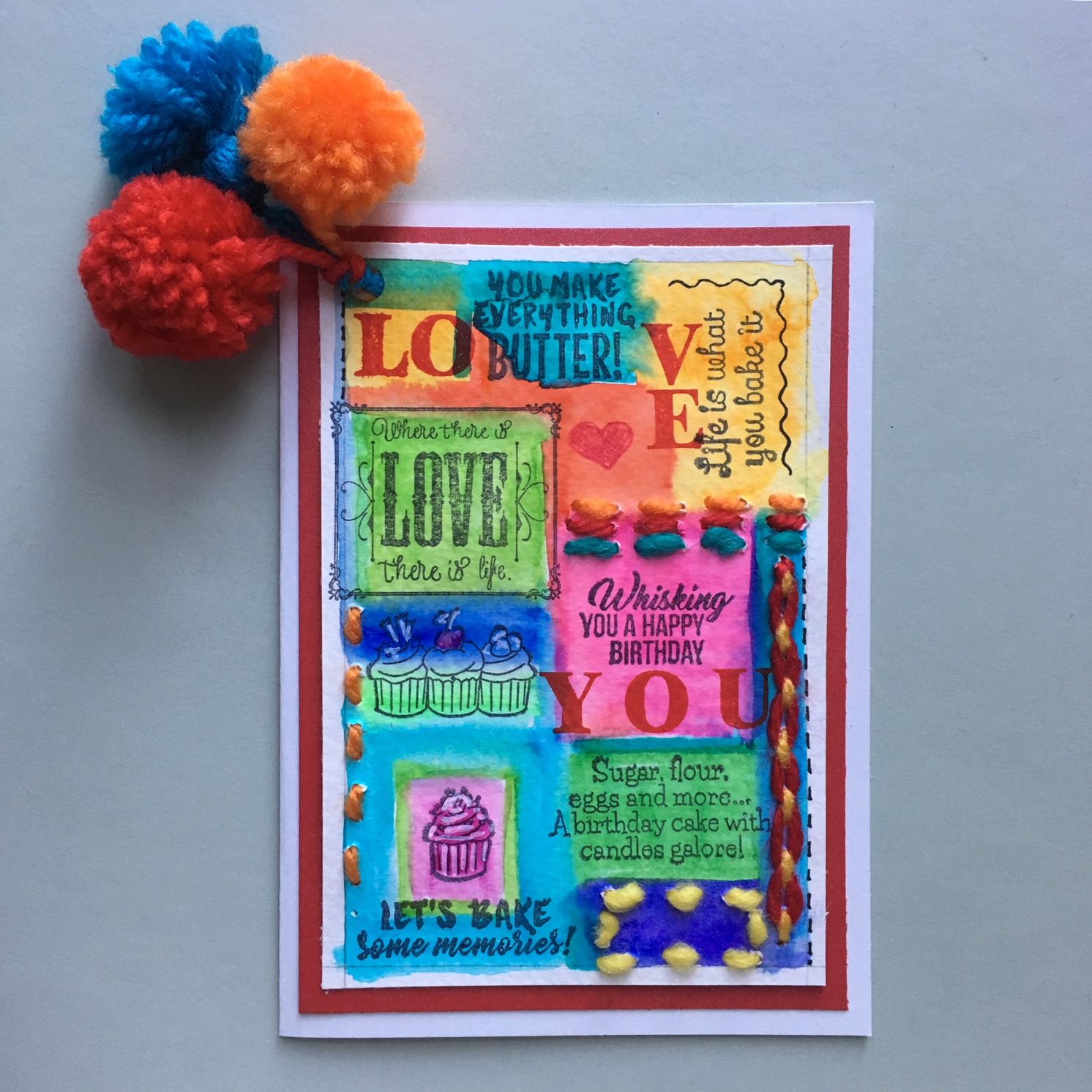 completed Hippie greeting card