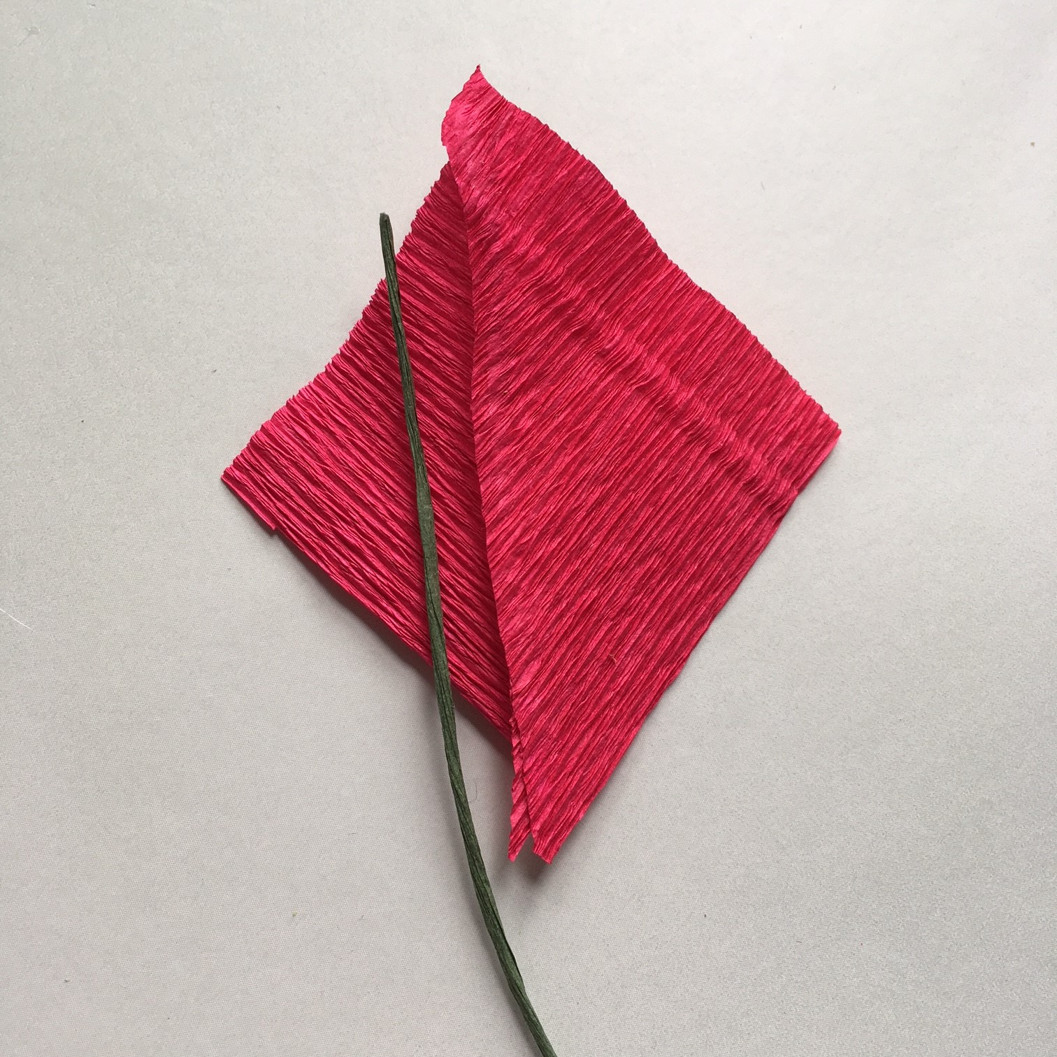making the leaves for crepe paper Poinsettia for Christmas gift