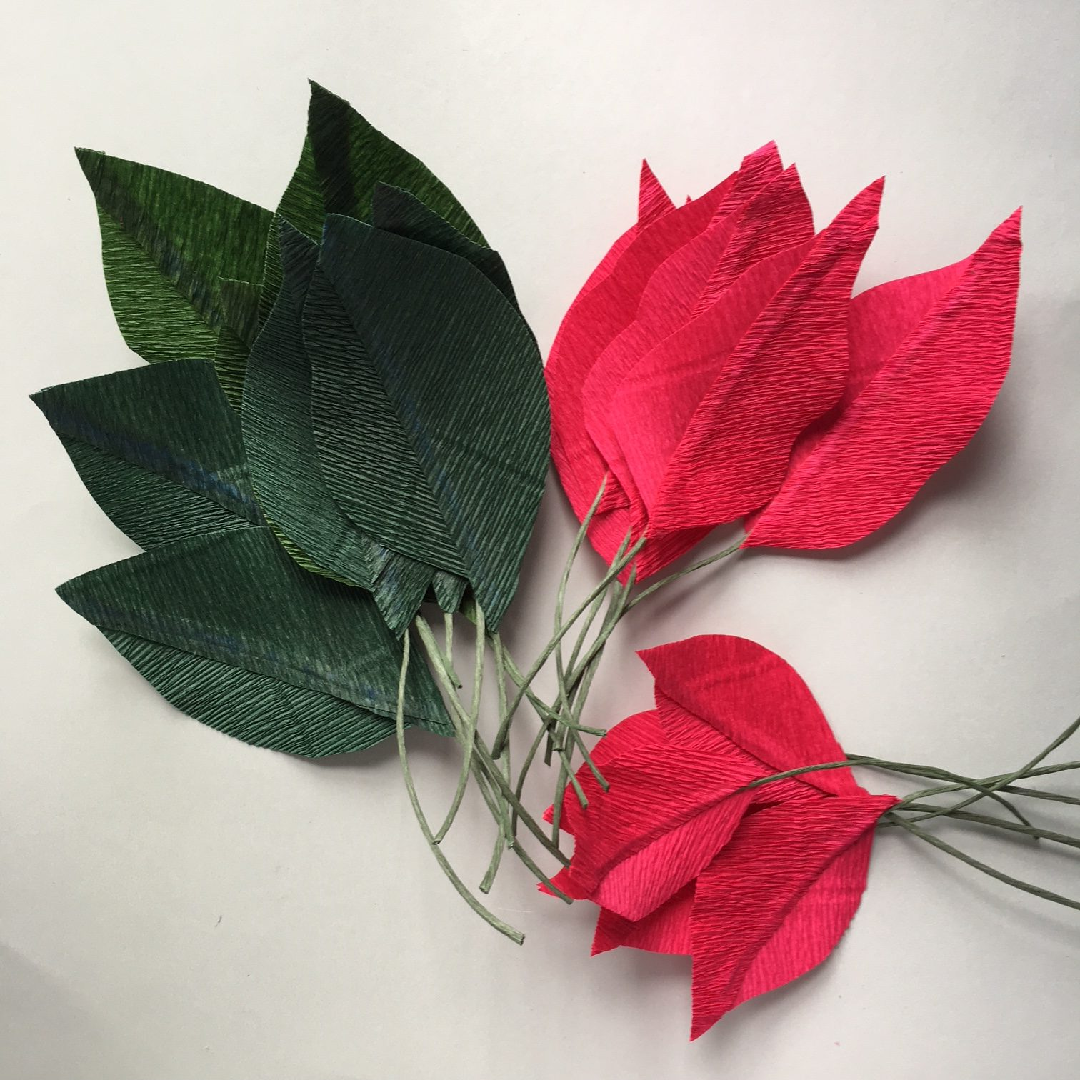 crepe paper leaves