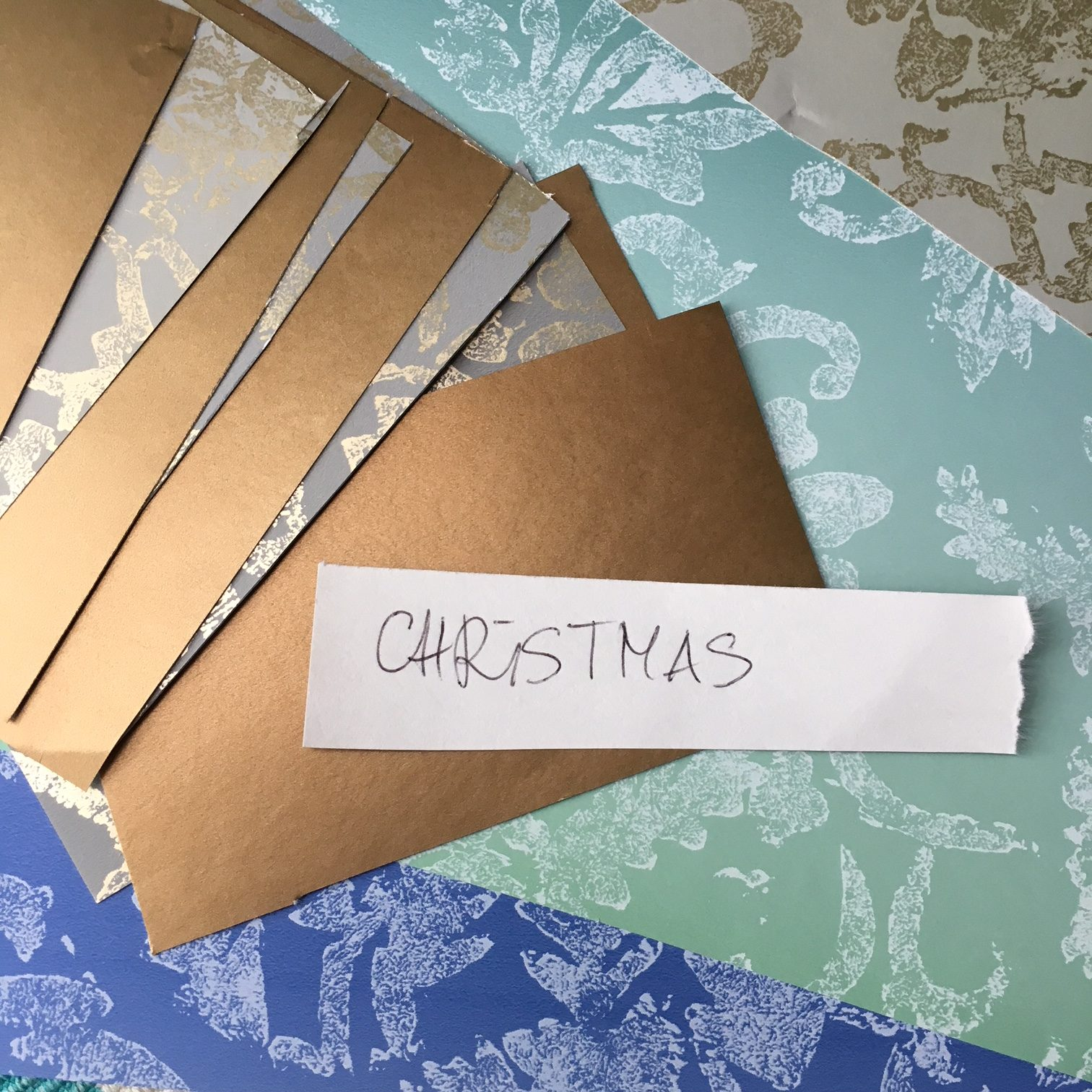 "paper rectangles and ""Christmas""note"