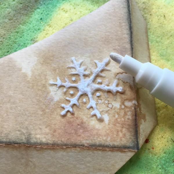 acrylic marker whitening modelling paste snowflake
