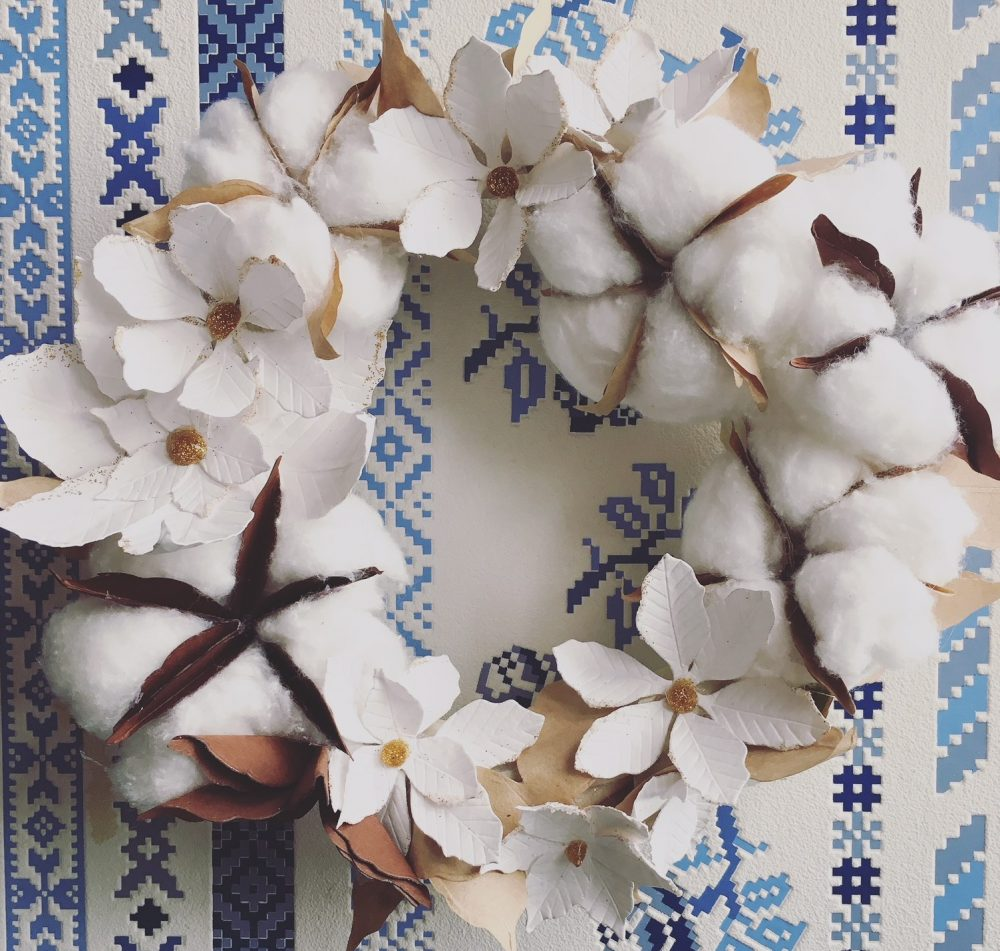Cotton flower Christmas wreath