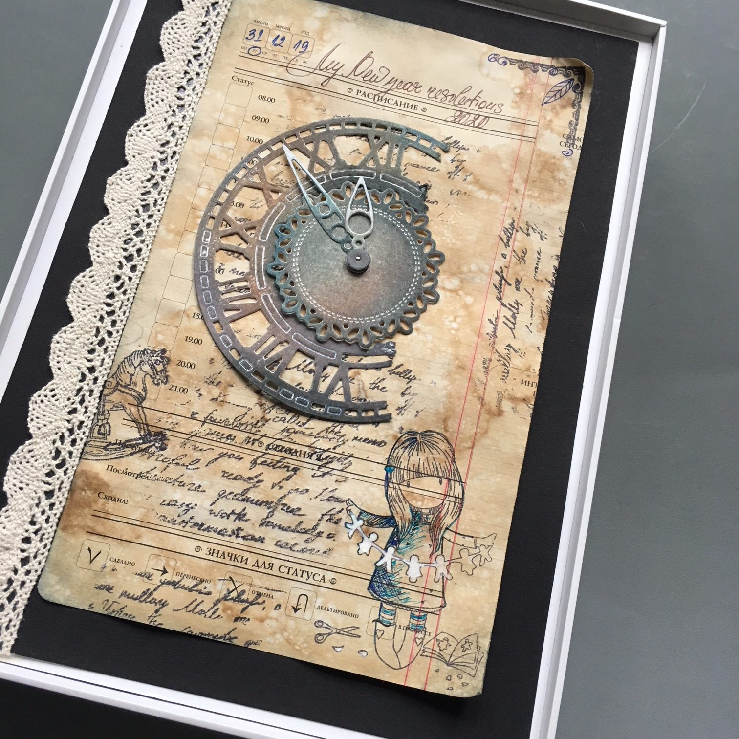 scrapbook decoration with paper clock, vintage paper and lace